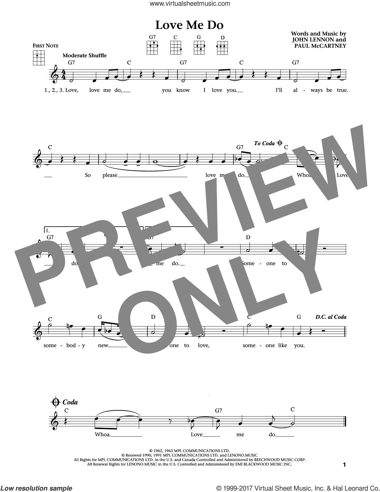 Love Me Do (from The Daily Ukulele) (arr. Liz and Jim Beloff) sheet music for ukulele by The Beatles, Jim Beloff, Liz Beloff, John Lennon and Paul McCartney, intermediate skill level
