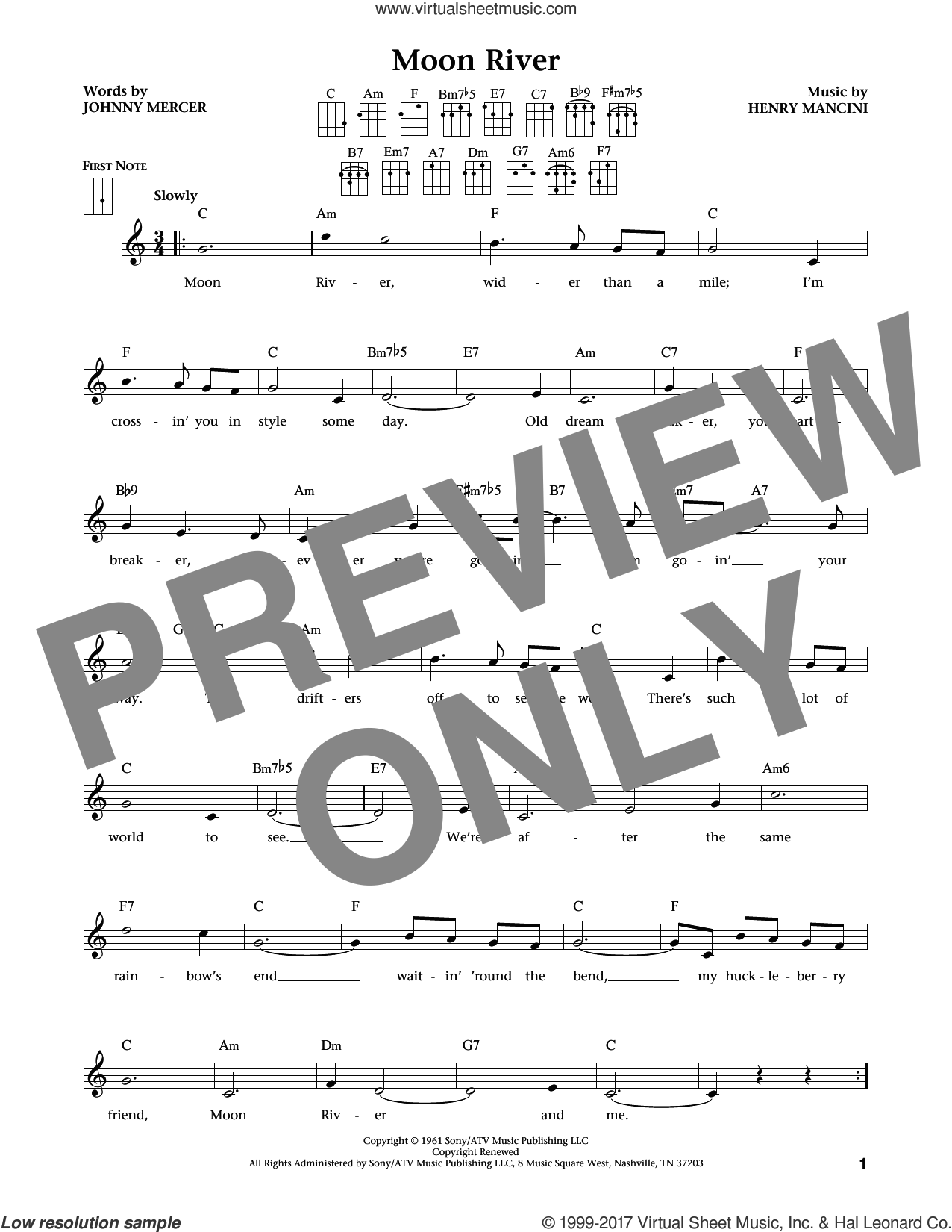 Moon River sheet music for ukulele by Johnny Mercer, Jim Beloff, Liz Beloff, Andy Williams and Henry Mancini, intermediate skill level