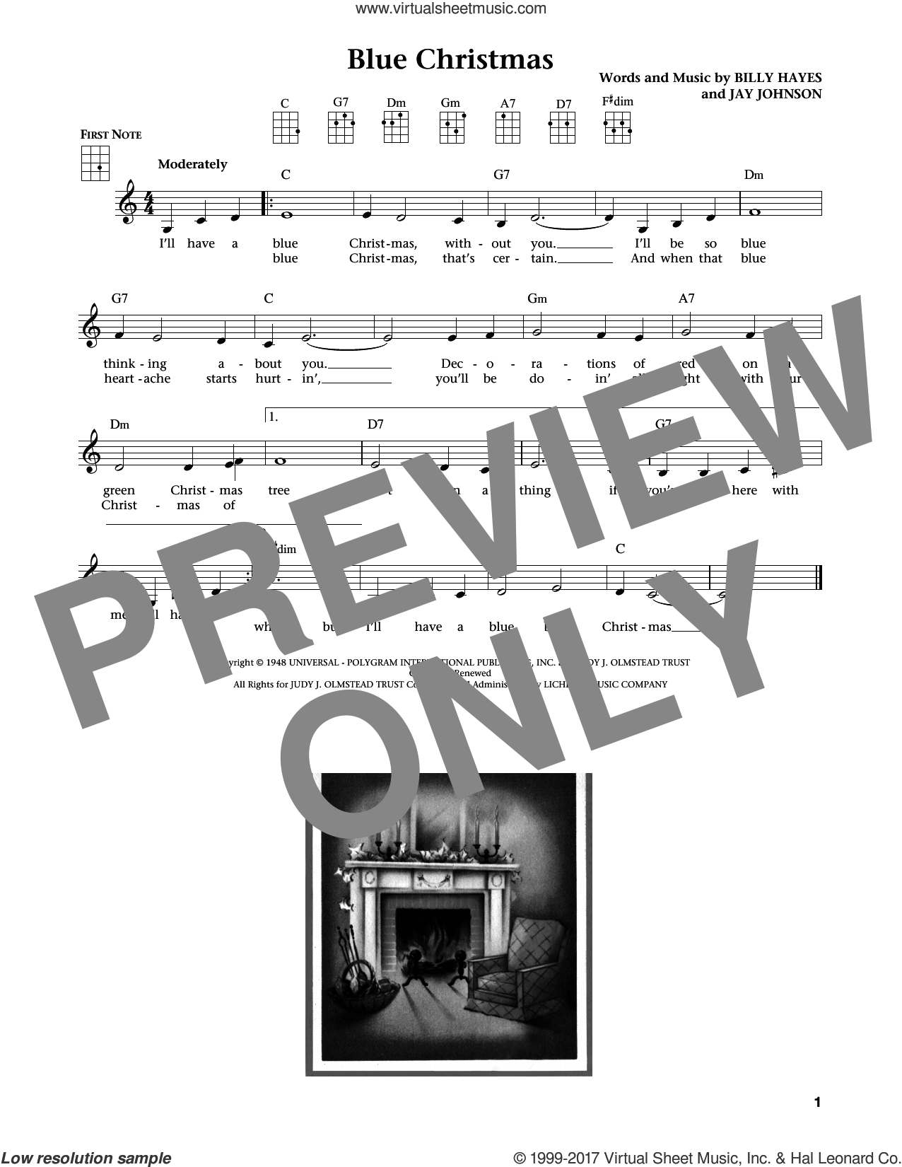 Blue Christmas sheet music for ukulele by Elvis Presley. Score Image Preview.