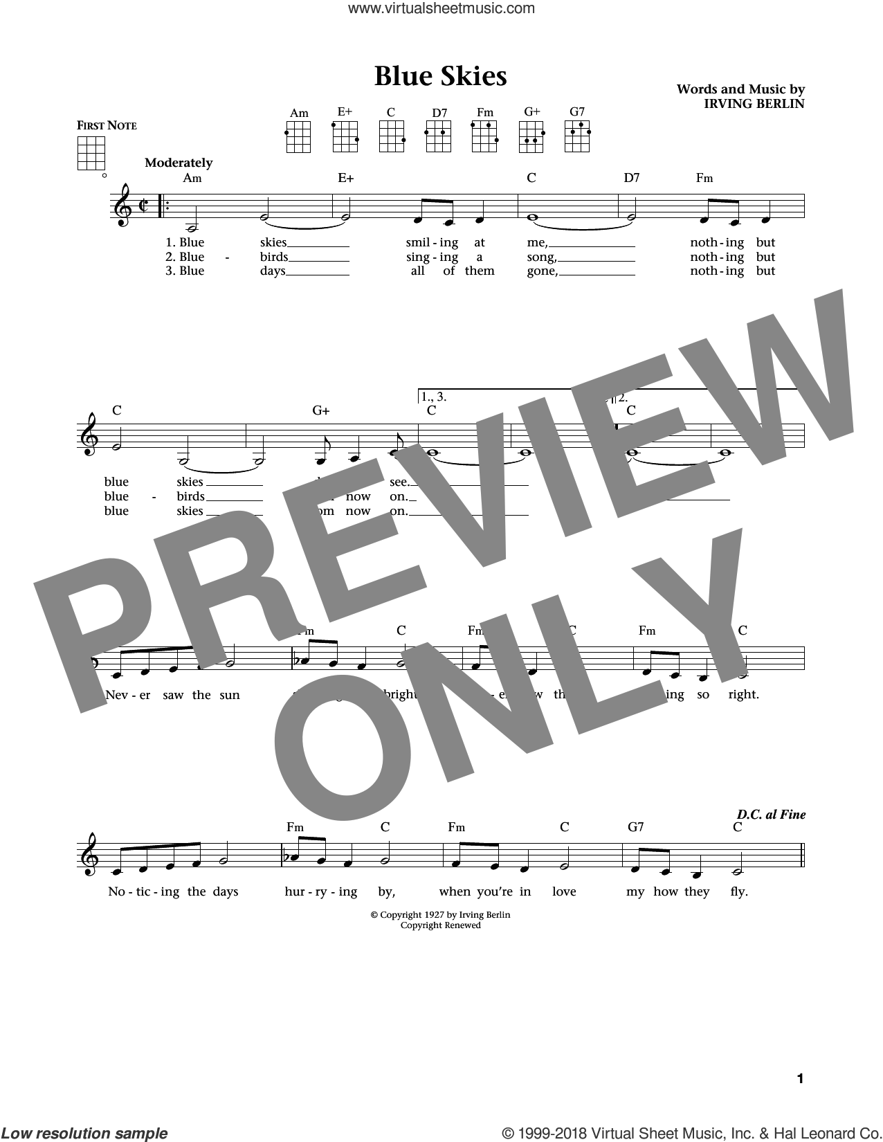 Blue Skies (from The Daily Ukulele) (arr. Liz and Jim Beloff) sheet music for ukulele by Irving Berlin, Jim Beloff, Liz Beloff and Willie Nelson, intermediate skill level