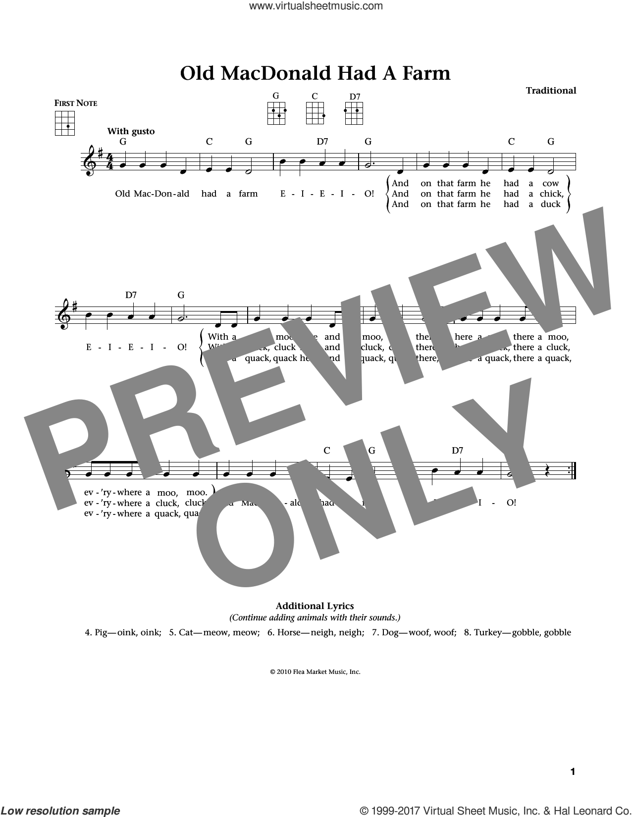 Old Macdonald Had A Farm sheet music for ukulele. Score Image Preview.