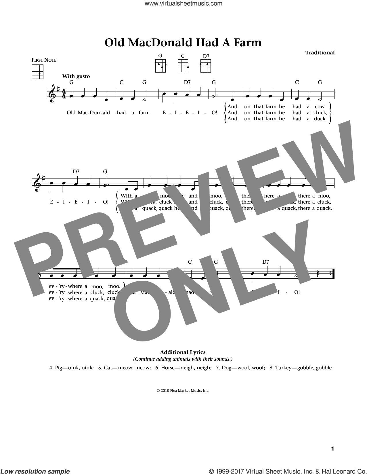 Old Macdonald Had A Farm (from The Daily Ukulele) (arr. Liz and Jim Beloff) sheet music for ukulele , Jim Beloff and Liz Beloff, intermediate skill level