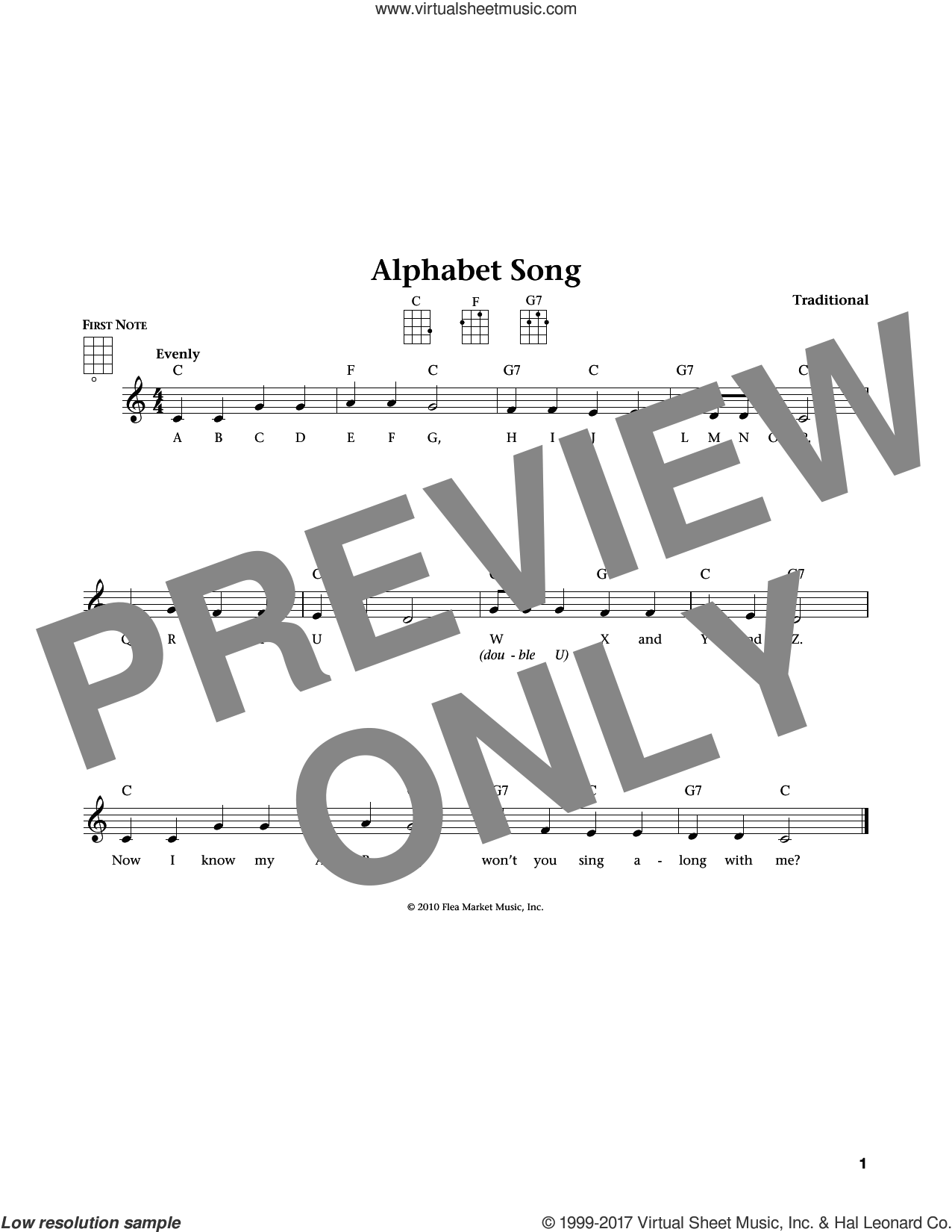 Alphabet Song (from The Daily Ukulele) (arr. Liz and Jim Beloff) sheet music for ukulele , Jim Beloff and Liz Beloff, intermediate skill level