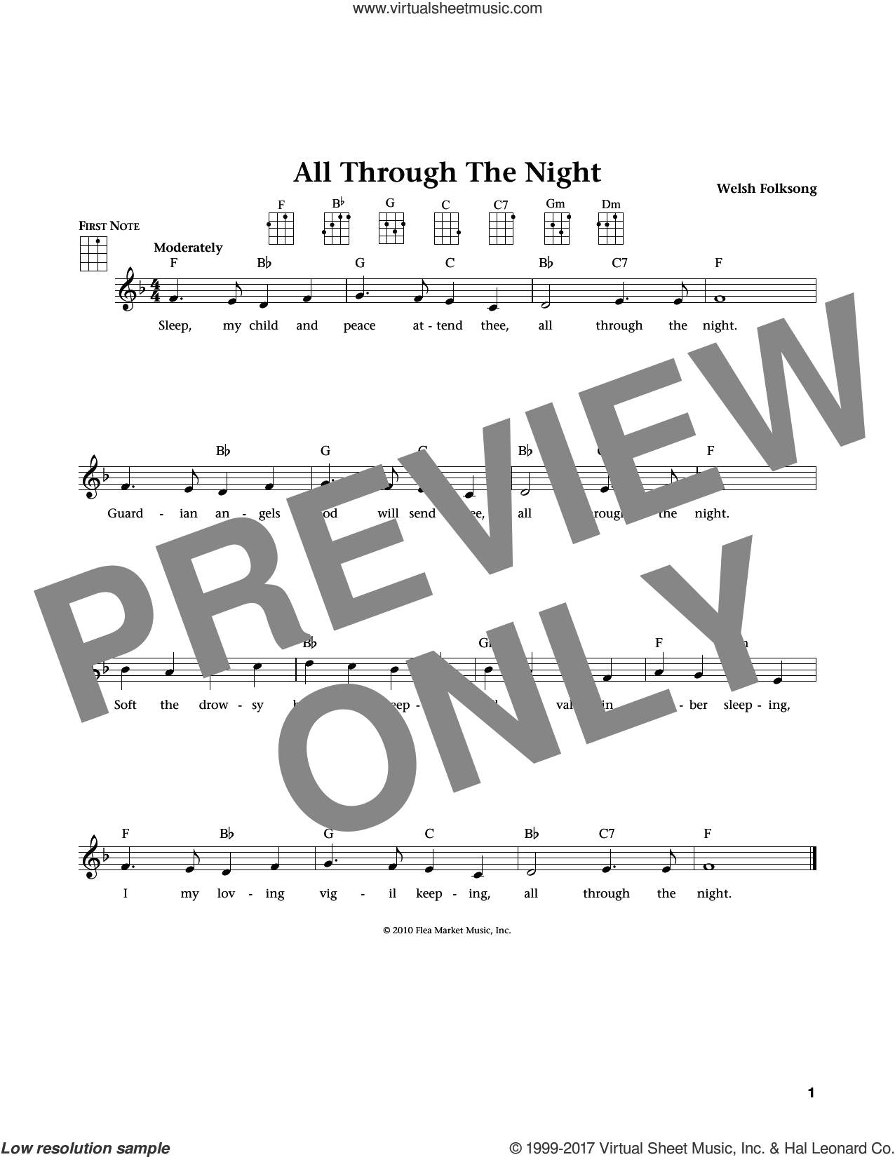 All Through The Night sheet music for ukulele. Score Image Preview.