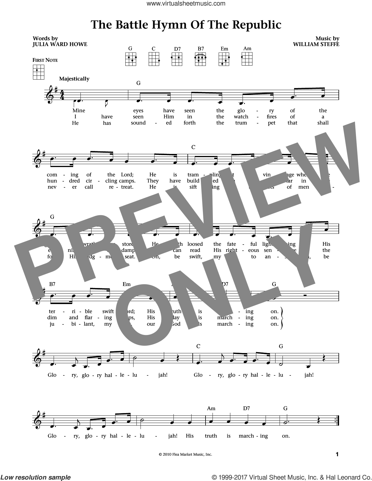 Battle Hymn Of The Republic sheet music for ukulele by William Steffe and Julia Ward Howe, intermediate. Score Image Preview.