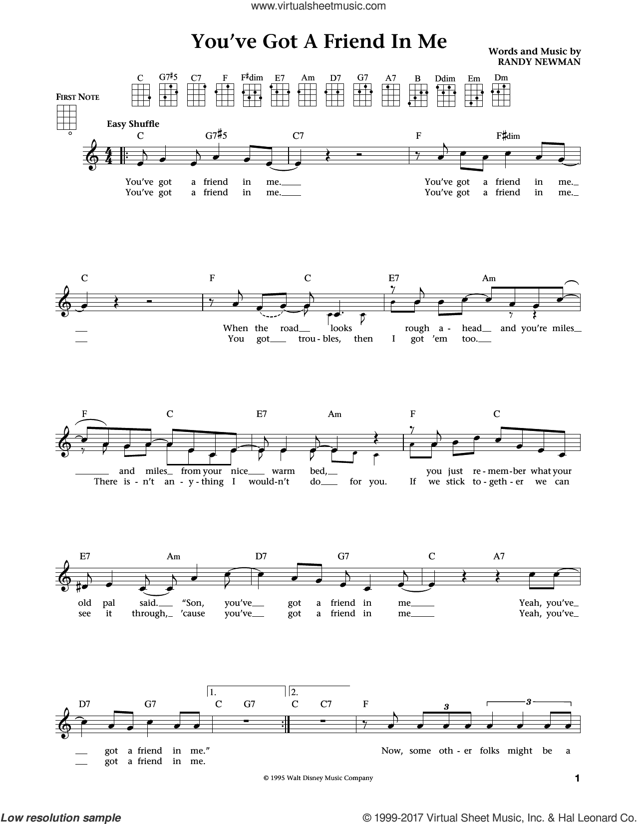 You've Got A Friend In Me (from Toy Story) (arr. Liz and Jim Beloff) sheet music for ukulele by Randy Newman, Jim Beloff and Liz Beloff, intermediate skill level