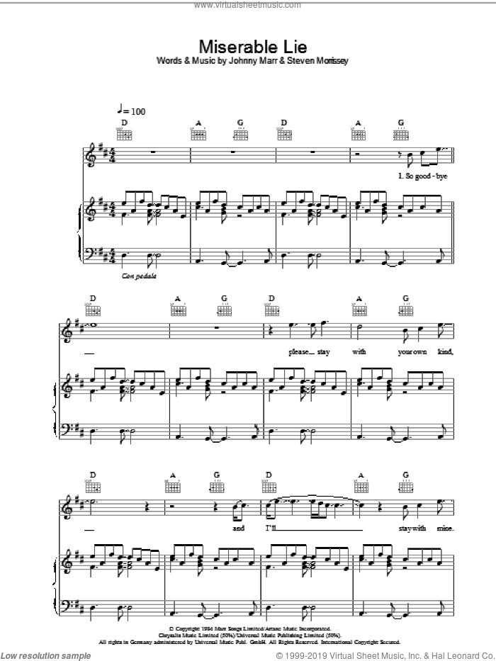 Miserable Lie sheet music for voice, piano or guitar by Johnny Marr
