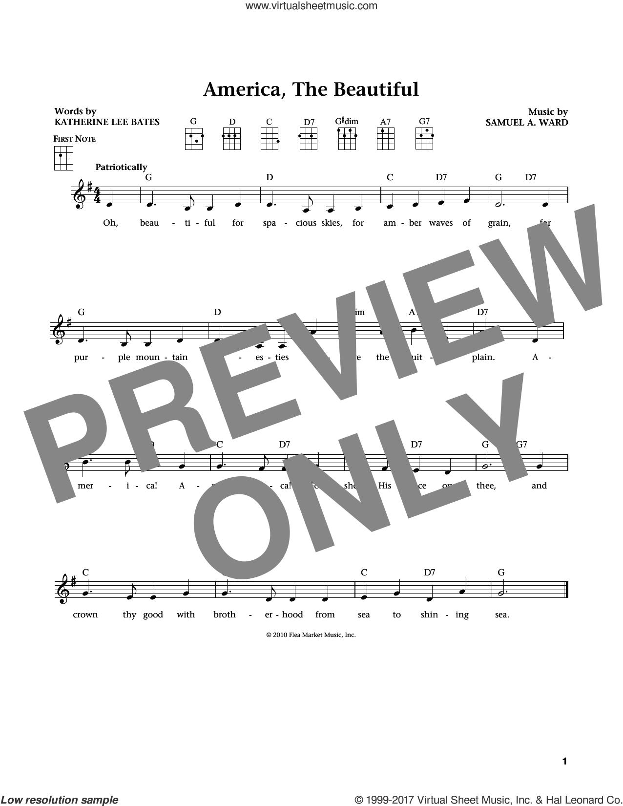 America, The Beautiful (from The Daily Ukulele) (arr. Liz and Jim Beloff) sheet music for ukulele by Katherine Lee Bates, Jim Beloff and Liz Beloff, intermediate skill level