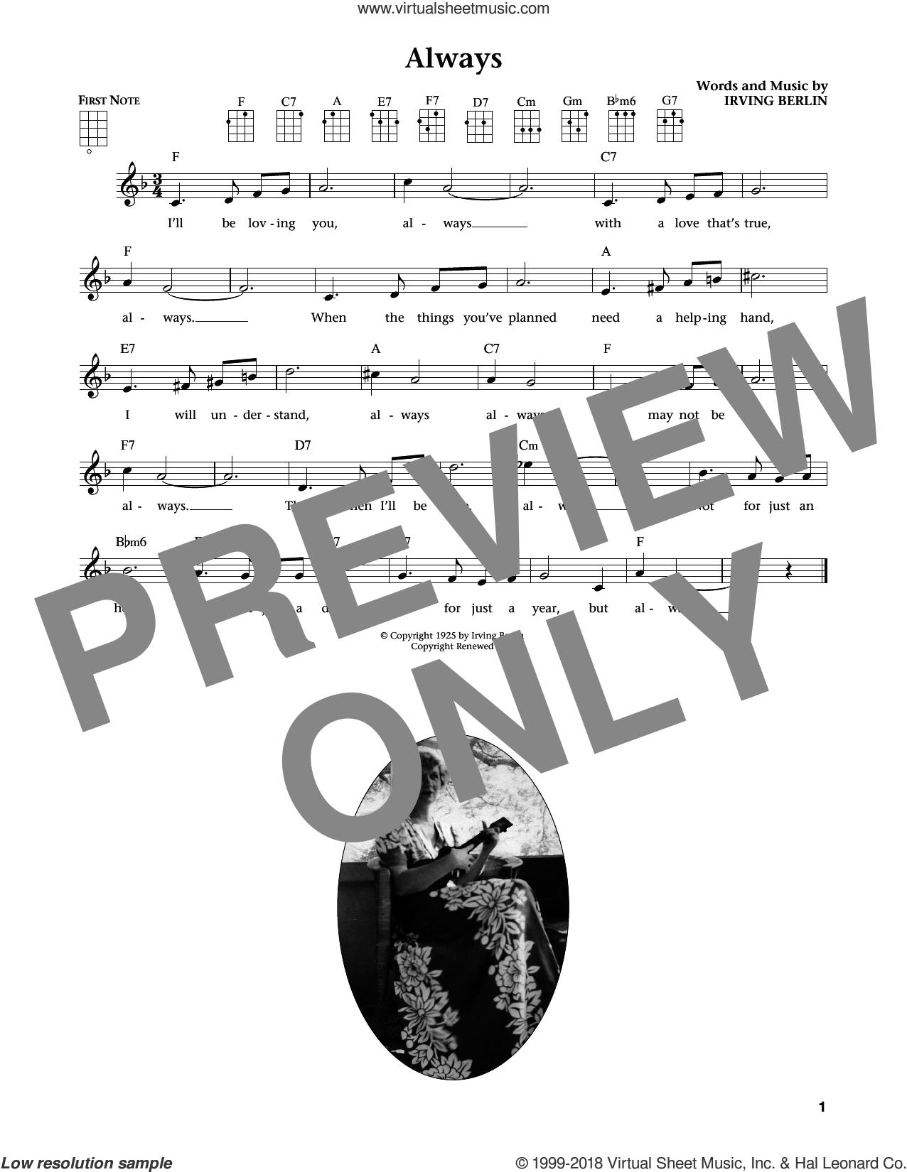 Always (from The Daily Ukulele) (arr. Liz and Jim Beloff) sheet music for ukulele by Irving Berlin, Jim Beloff and Liz Beloff, intermediate skill level
