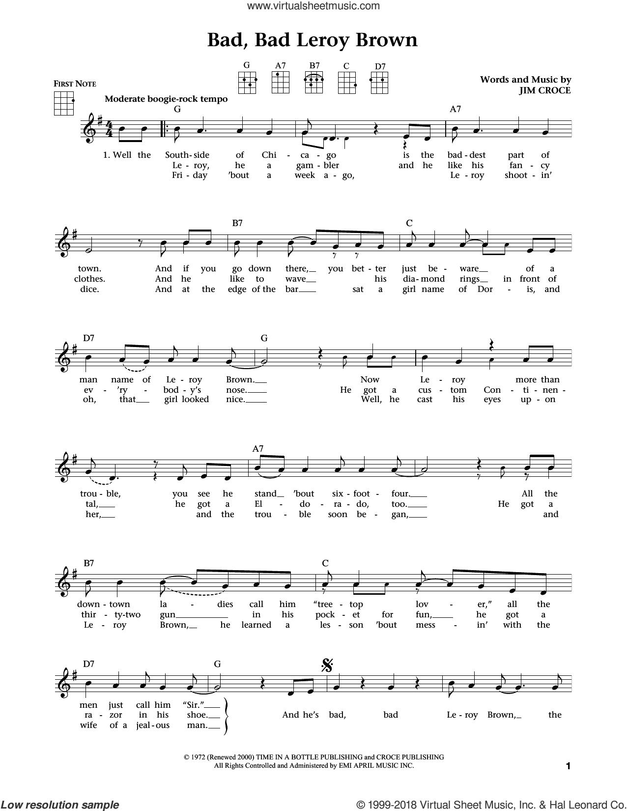 Bad, Bad Leroy Brown (from The Daily Ukulele) (arr. Liz and Jim Beloff) sheet music for ukulele by Jim Croce, Jim Beloff and Liz Beloff, intermediate skill level
