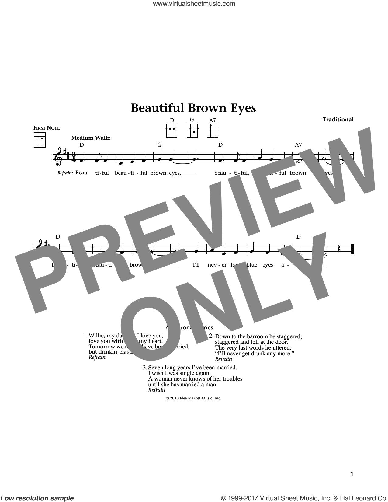 Beautiful Brown Eyes (from The Daily Ukulele) (arr. Liz and Jim Beloff) sheet music for ukulele , Jim Beloff and Liz Beloff, intermediate skill level