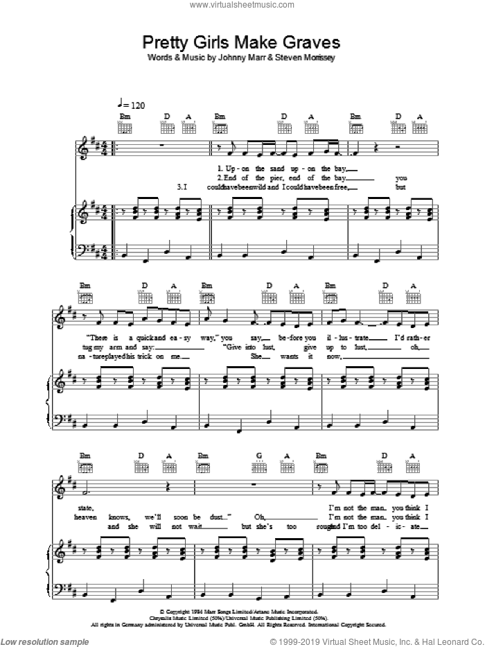 Pretty Girls Make Graves sheet music for voice, piano or guitar by The Smiths, Johnny Marr and Steven Morrissey, intermediate. Score Image Preview.