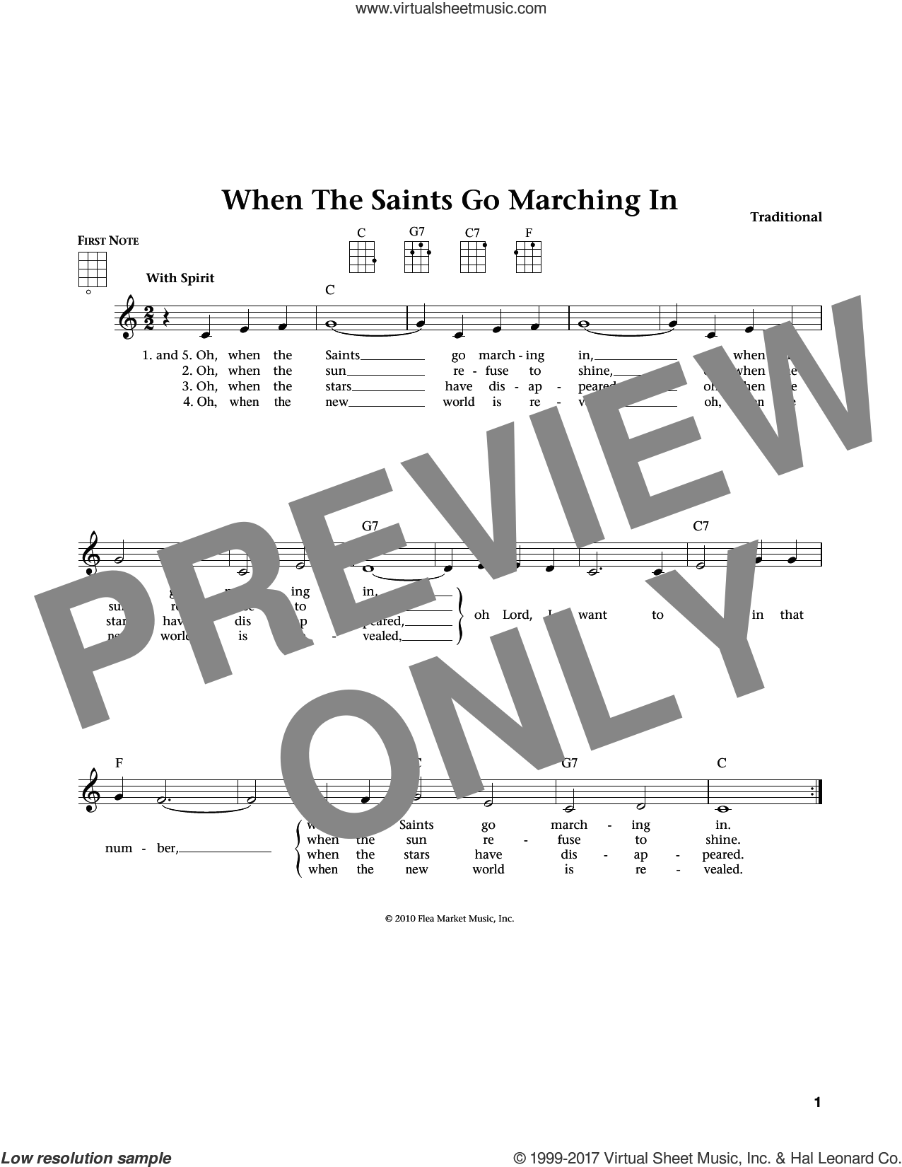 When The Saints Go Marching In sheet music for ukulele , Jim Beloff and Liz Beloff, intermediate skill level