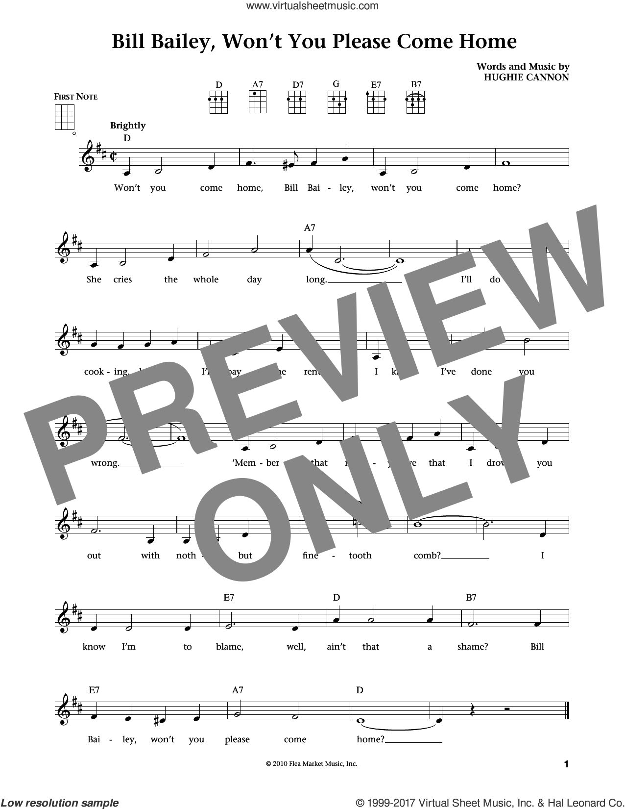 Bill Bailey, Won't You Please Come Home (from The Daily Ukulele) (arr. Liz and Jim Beloff) sheet music for ukulele by Hughie Cannon, Jim Beloff and Liz Beloff, intermediate skill level