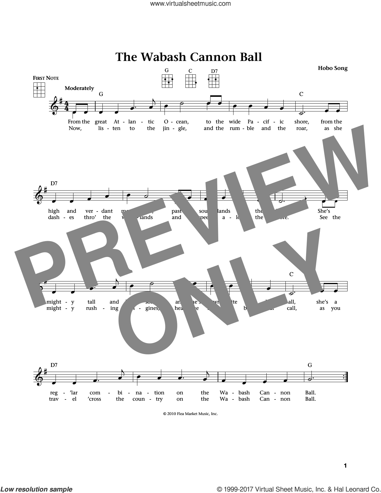 The Wabash Cannon Ball sheet music for ukulele by Hobo Song, Jim Beloff and Liz Beloff, intermediate skill level