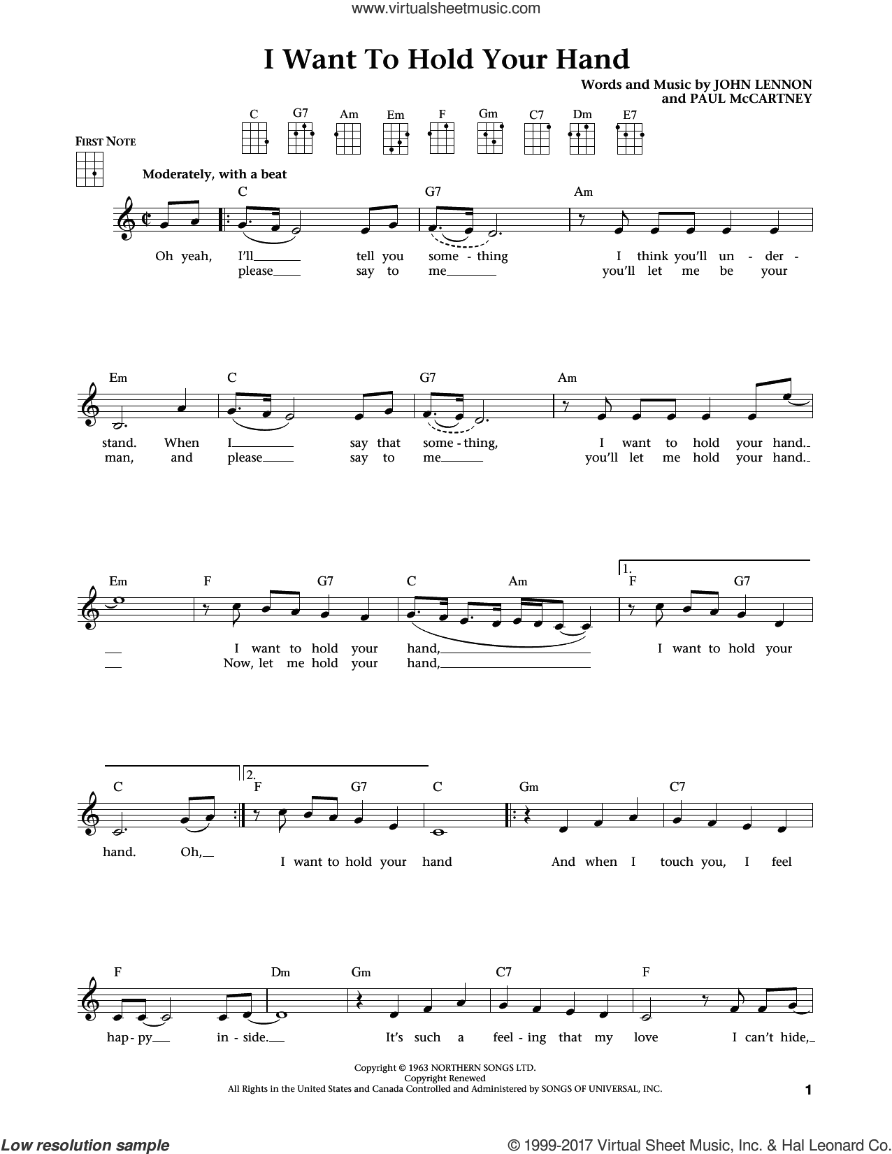 I Want To Hold Your Hand (from The Daily Ukulele) (arr. Liz and Jim Beloff) sheet music for ukulele by The Beatles, Jim Beloff and Liz Beloff, intermediate skill level