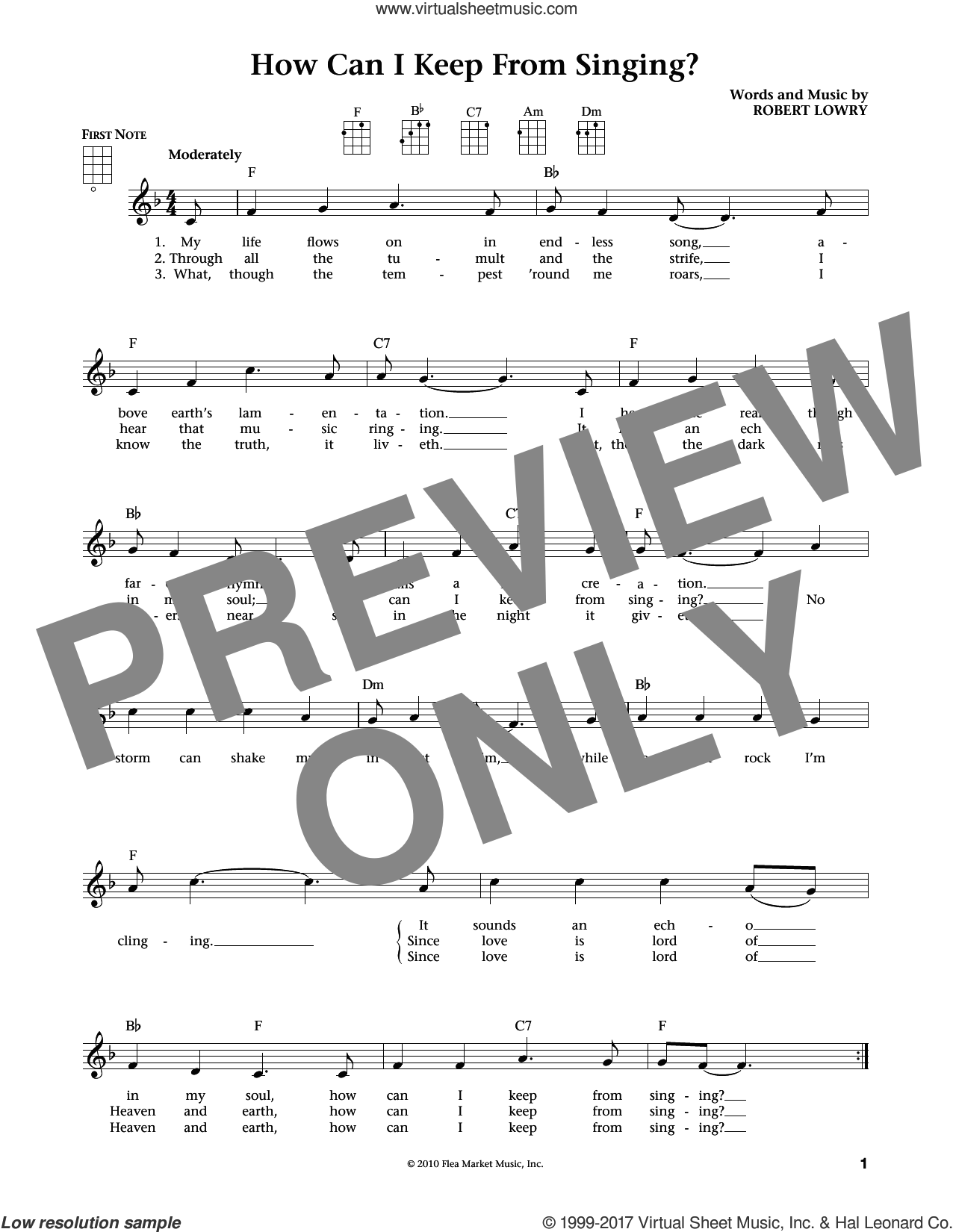 How Can I Keep From Singing sheet music for ukulele by Robert Lowry, Jim Beloff and Liz Beloff, intermediate skill level