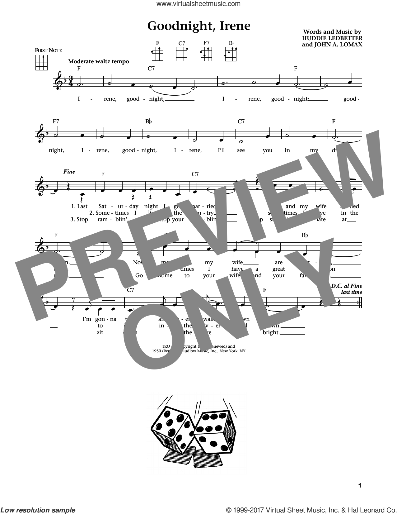 Goodnight, Irene sheet music for ukulele by Ernest Tubb & Red Foley, Jim Beloff, Johnny Cash, Liz Beloff, Peter, Paul & Mary, Huddie Ledbetter and John A. Lomax, intermediate skill level