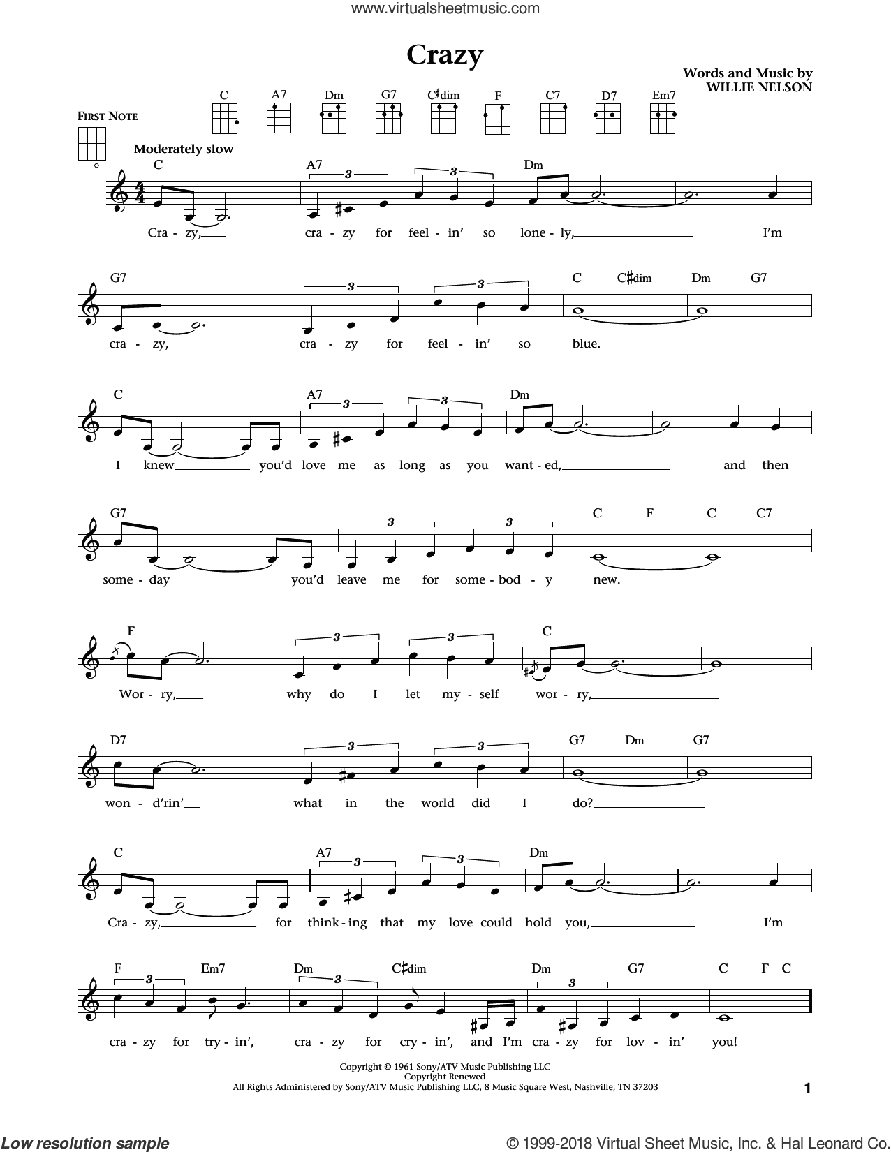 Crazy (from The Daily Ukulele) (arr. Liz and Jim Beloff) sheet music for ukulele by Patsy Cline, Jim Beloff and Liz Beloff, intermediate skill level