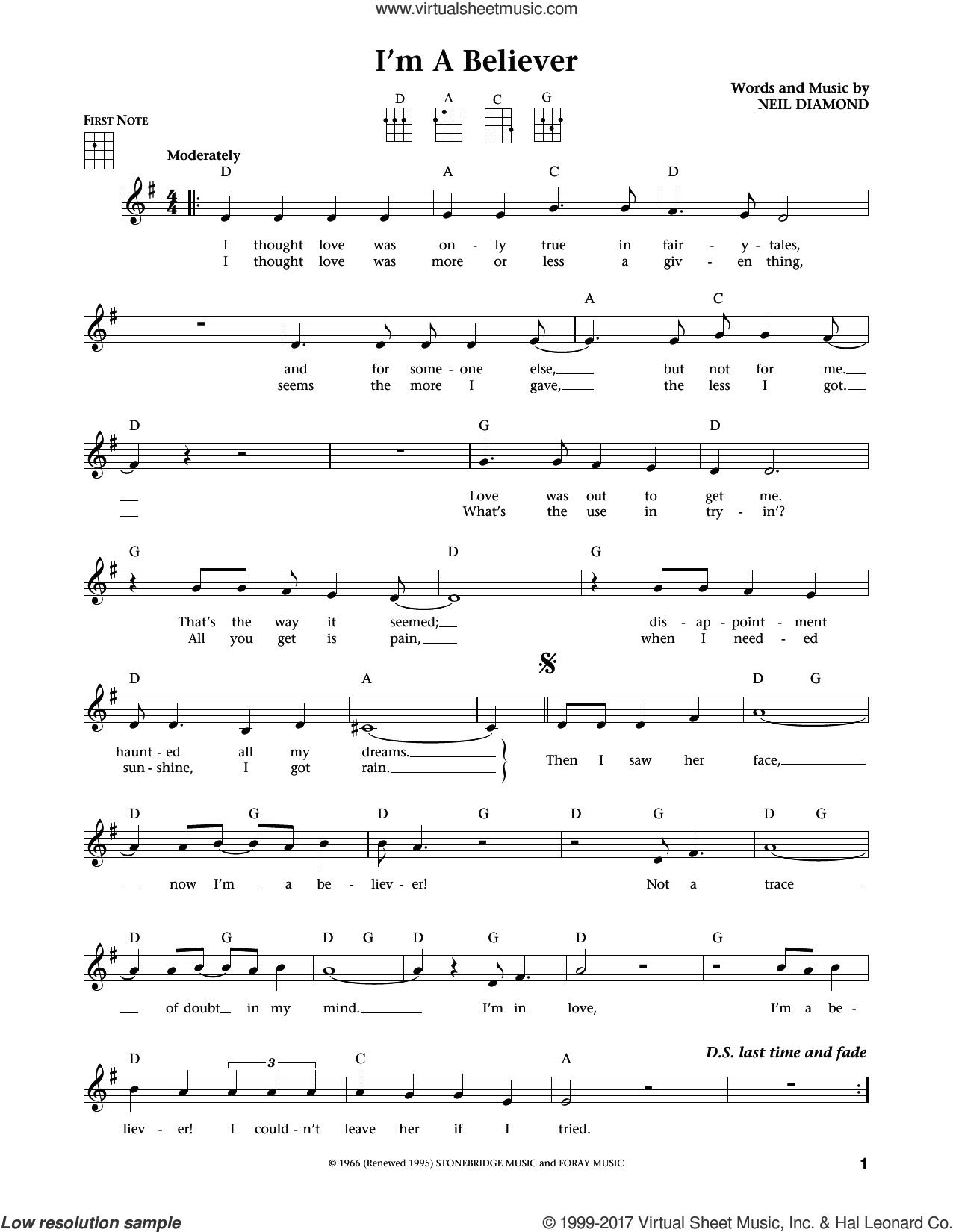 I'm A Believer sheet music for ukulele by The Monkees, Smash Mouth and Neil Diamond, intermediate. Score Image Preview.