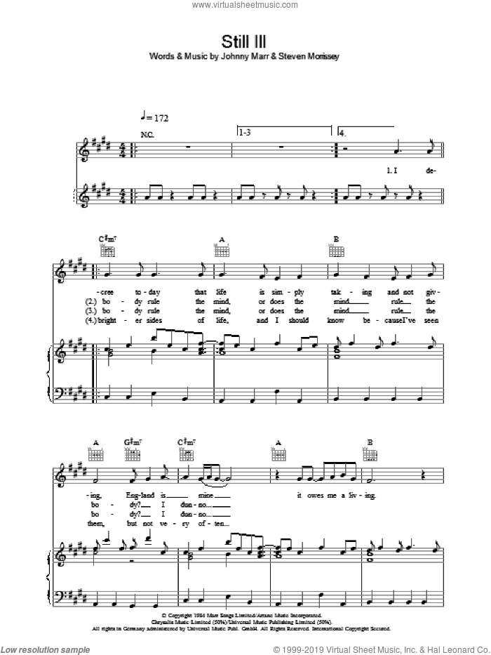 Still Ill sheet music for voice, piano or guitar by The Smiths, Johnny Marr and Steven Morrissey. Score Image Preview.