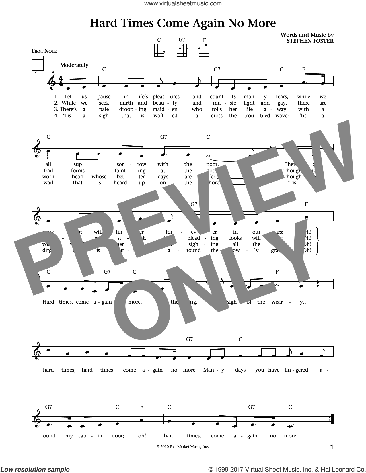 Hard Times Come Again No More sheet music for ukulele by Stephen Foster. Score Image Preview.