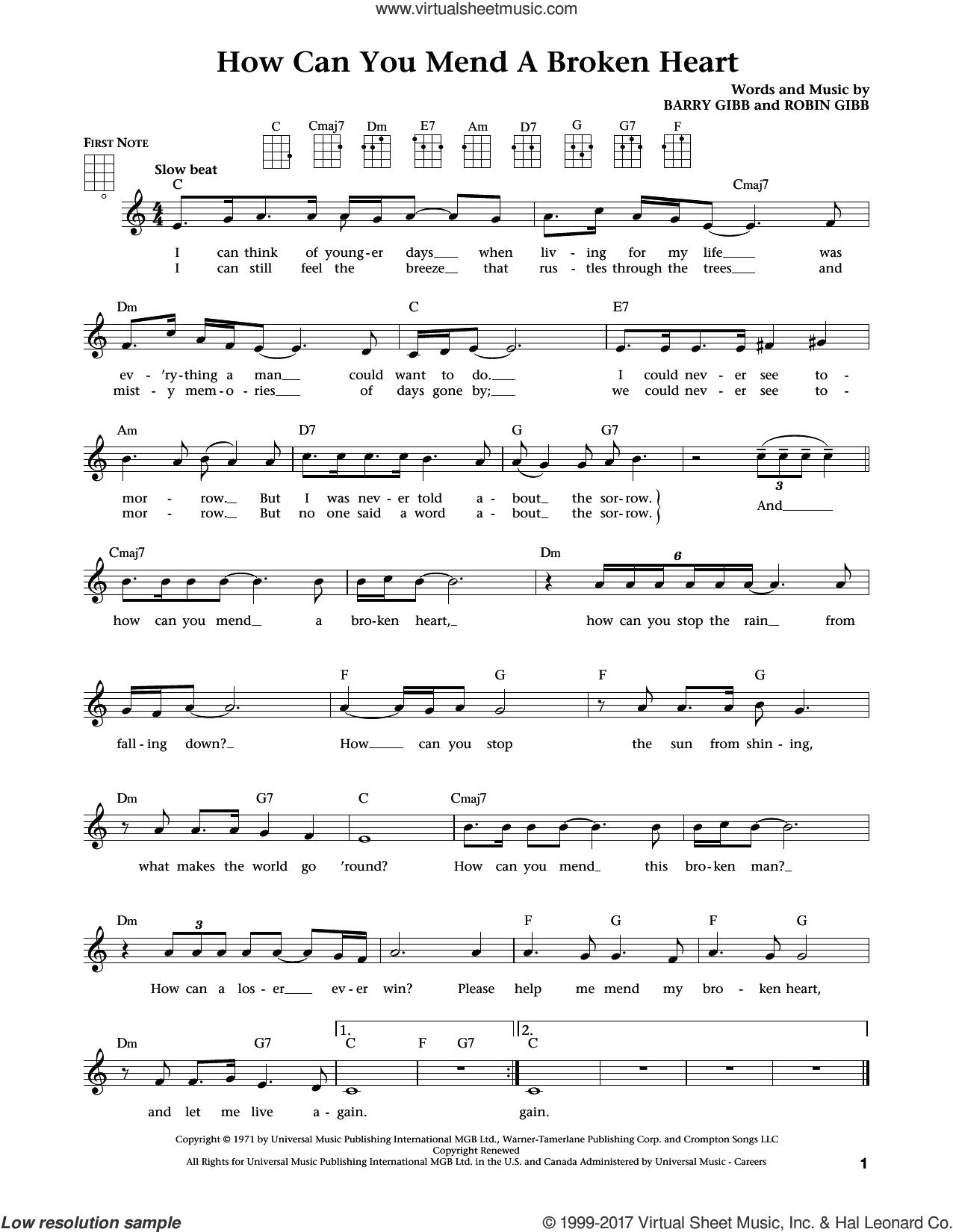 How Can You Mend A Broken Heart (from The Daily Ukulele) (arr. Liz and Jim Beloff) sheet music for ukulele by Barry Gibb, Jim Beloff, Liz Beloff, Bee Gees and Robin Gibb, intermediate skill level