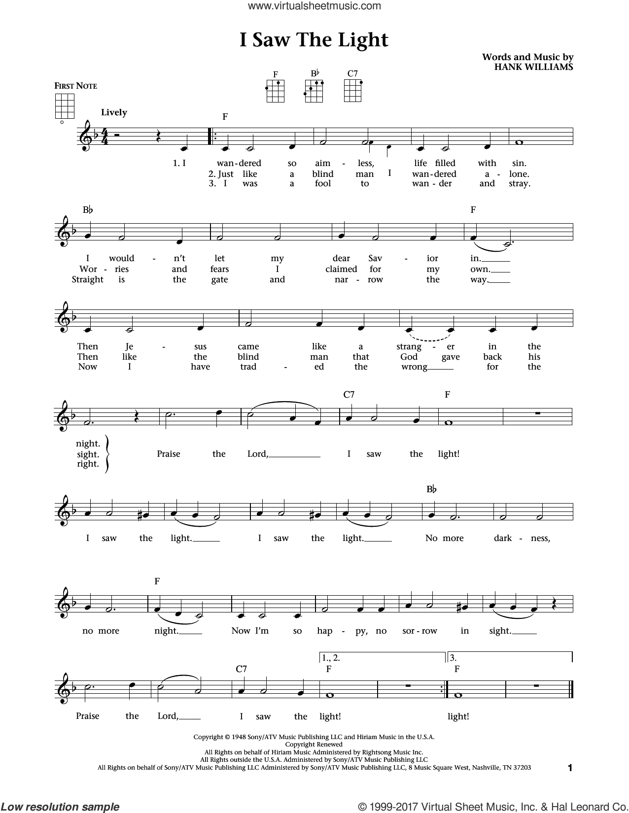 I Saw The Light (from The Daily Ukulele) (arr. Liz and Jim Beloff) sheet music for ukulele by Hank Williams, Jim Beloff and Liz Beloff, intermediate skill level