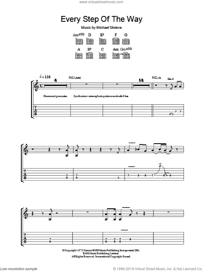 Every Step Of The Way sheet music for guitar (tablature) by Michael Shrieve and Carlos Santana. Score Image Preview.