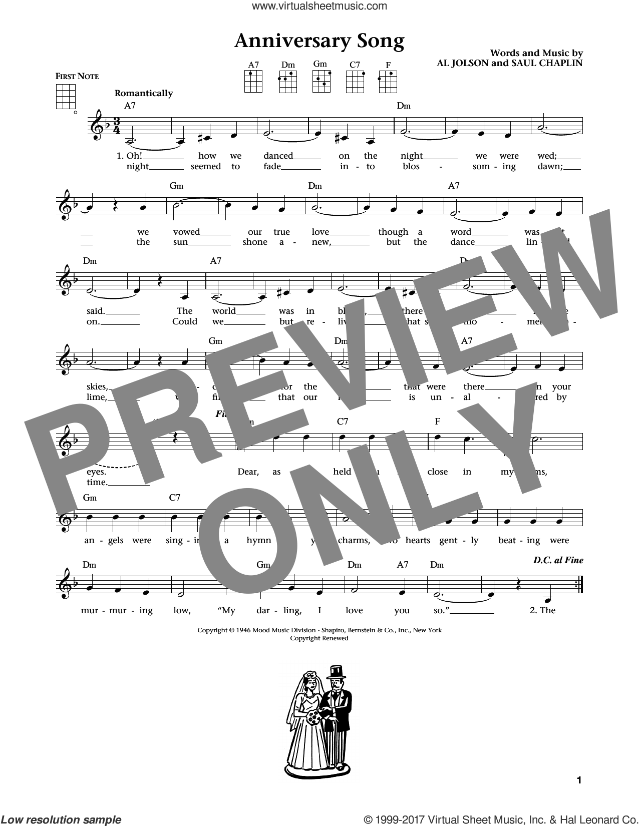 Anniversary Song sheet music for ukulele by Al Jolson and Saul Chaplin. Score Image Preview.