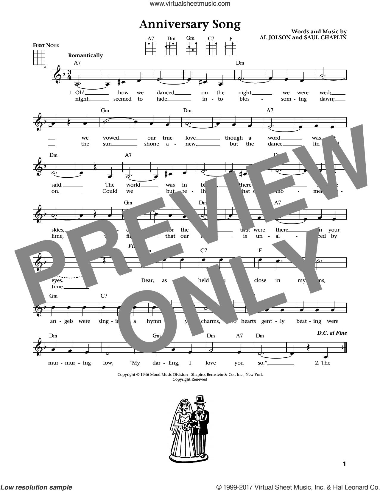Anniversary Song (from The Daily Ukulele) (arr. Liz and Jim Beloff) sheet music for ukulele by Al Jolson, Jim Beloff, Liz Beloff and Saul Chaplin, intermediate skill level