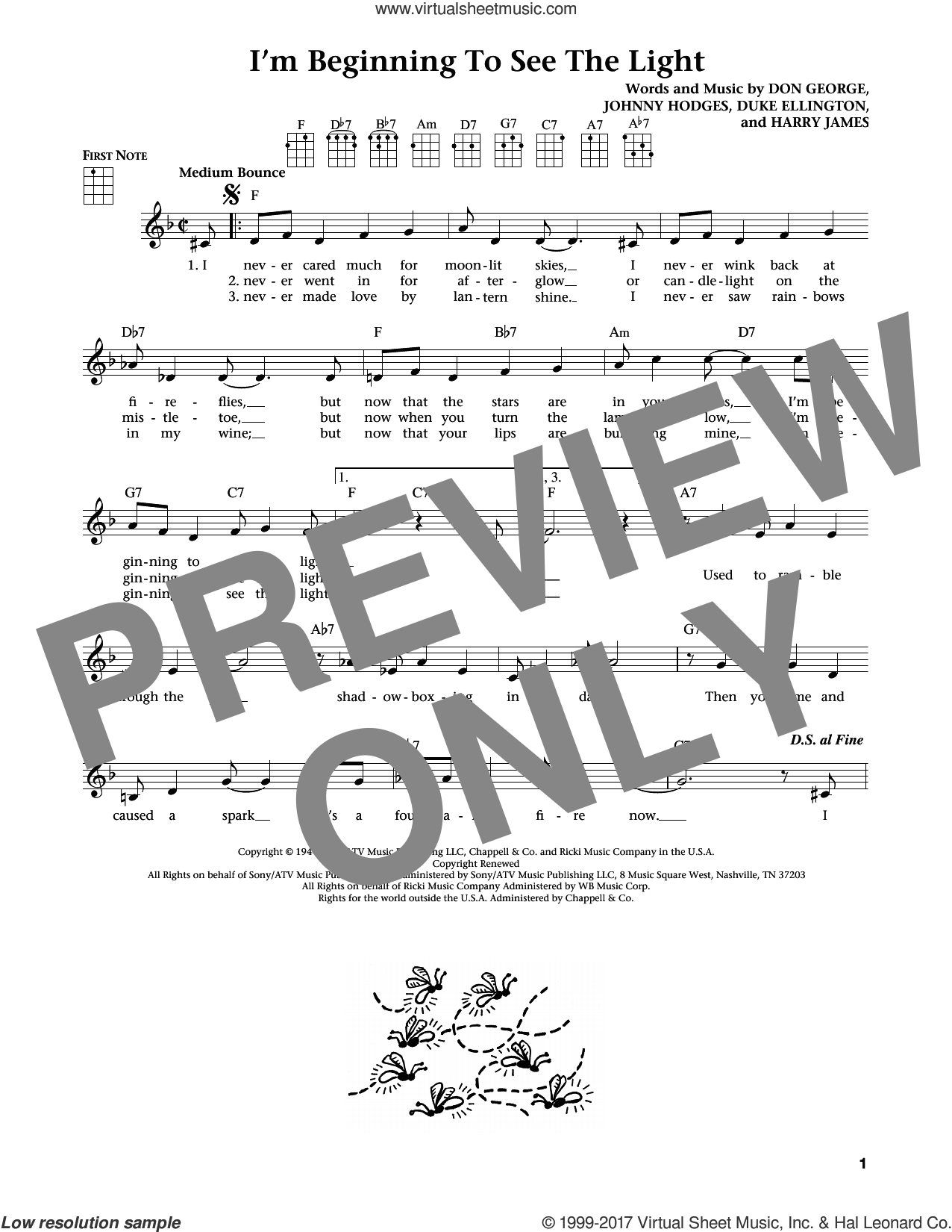 I'm Beginning To See The Light (from The Daily Ukulele) (arr. Liz and Jim Beloff) sheet music for ukulele by Duke Ellington, Jim Beloff, Liz Beloff, Don George, Harry James and Johnny Hodges, intermediate skill level