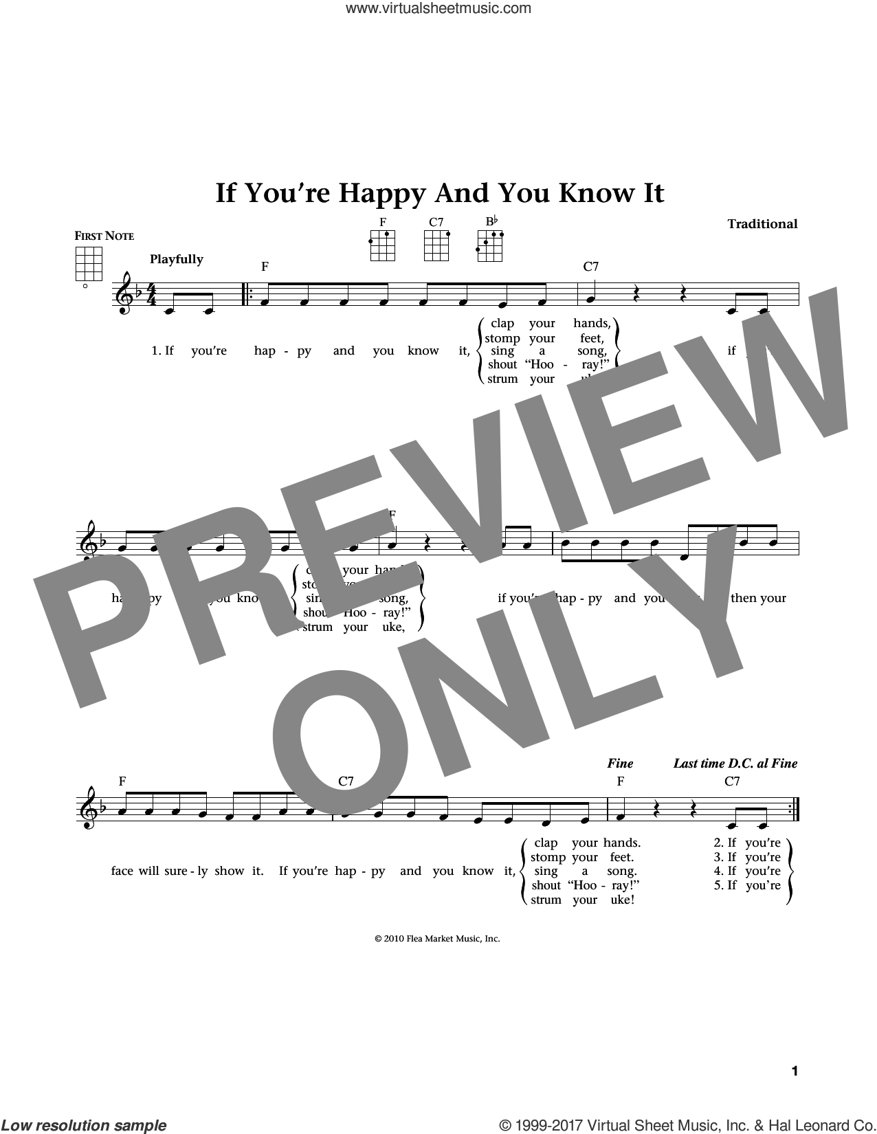 If You're Happy And You Know It sheet music for ukulele by Laura Smith and Jim Beloff. Score Image Preview.