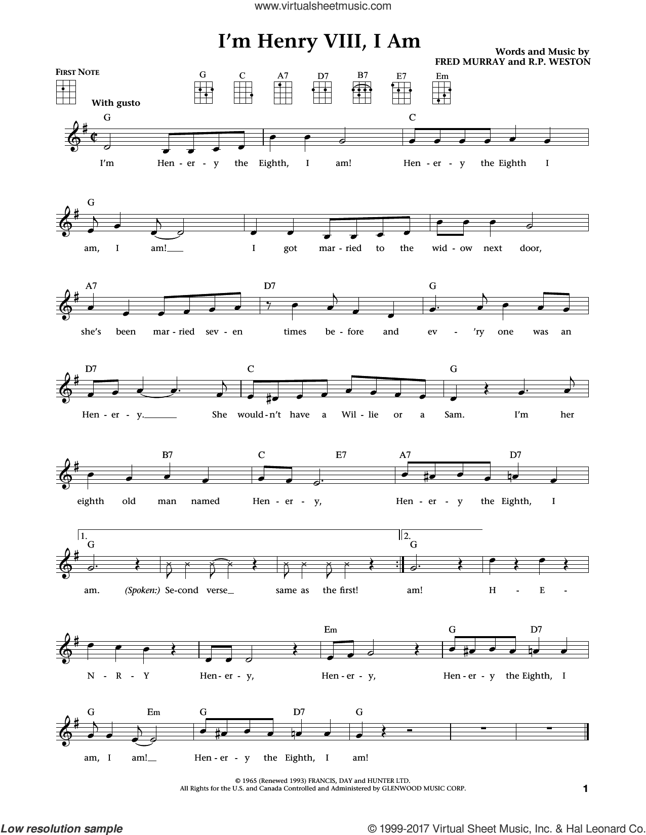 I'm Henry VIII, I Am (from The Daily Ukulele) (arr. Liz and Jim Beloff) sheet music for ukulele by Herman's Hermits, Jim Beloff, Liz Beloff, Fred Murray and R.P. Weston, intermediate skill level