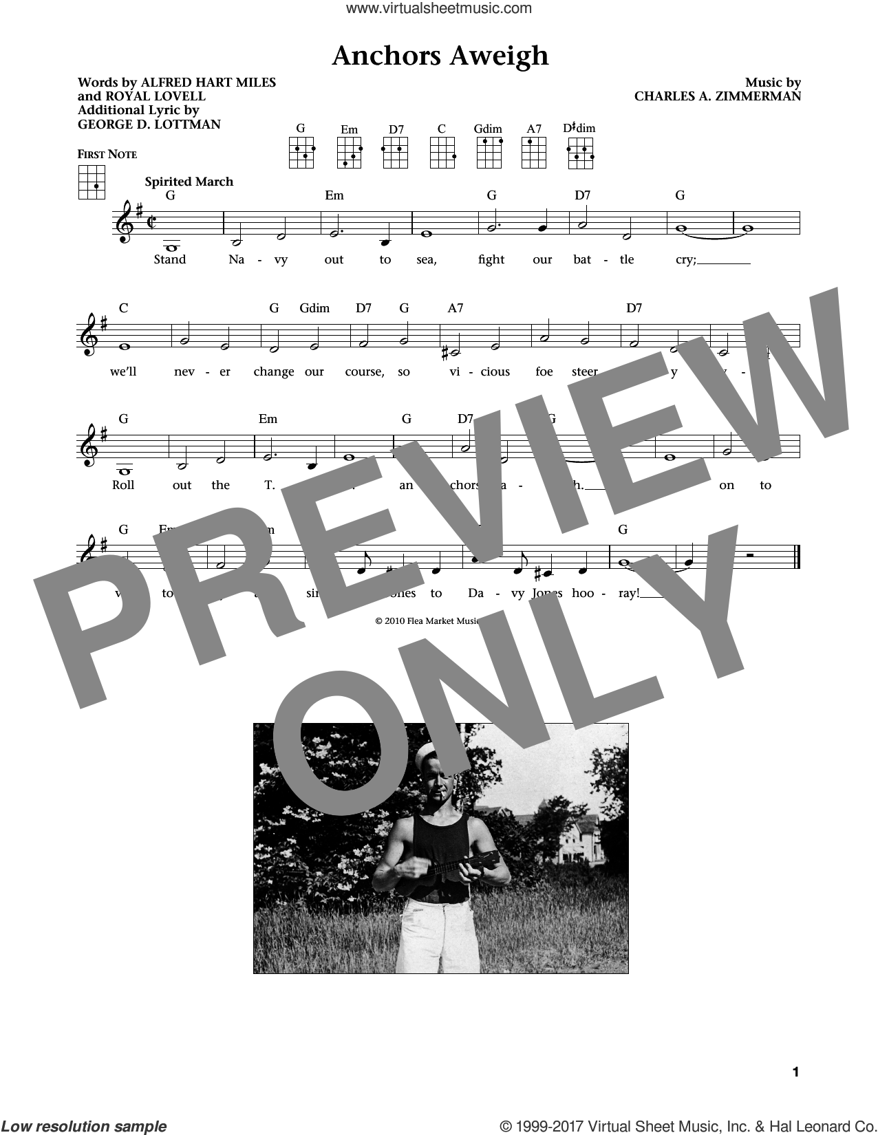 Anchors Aweigh sheet music for ukulele by Charles A. Zimmerman, Alfred Hart Miles and George D. Lottman. Score Image Preview.