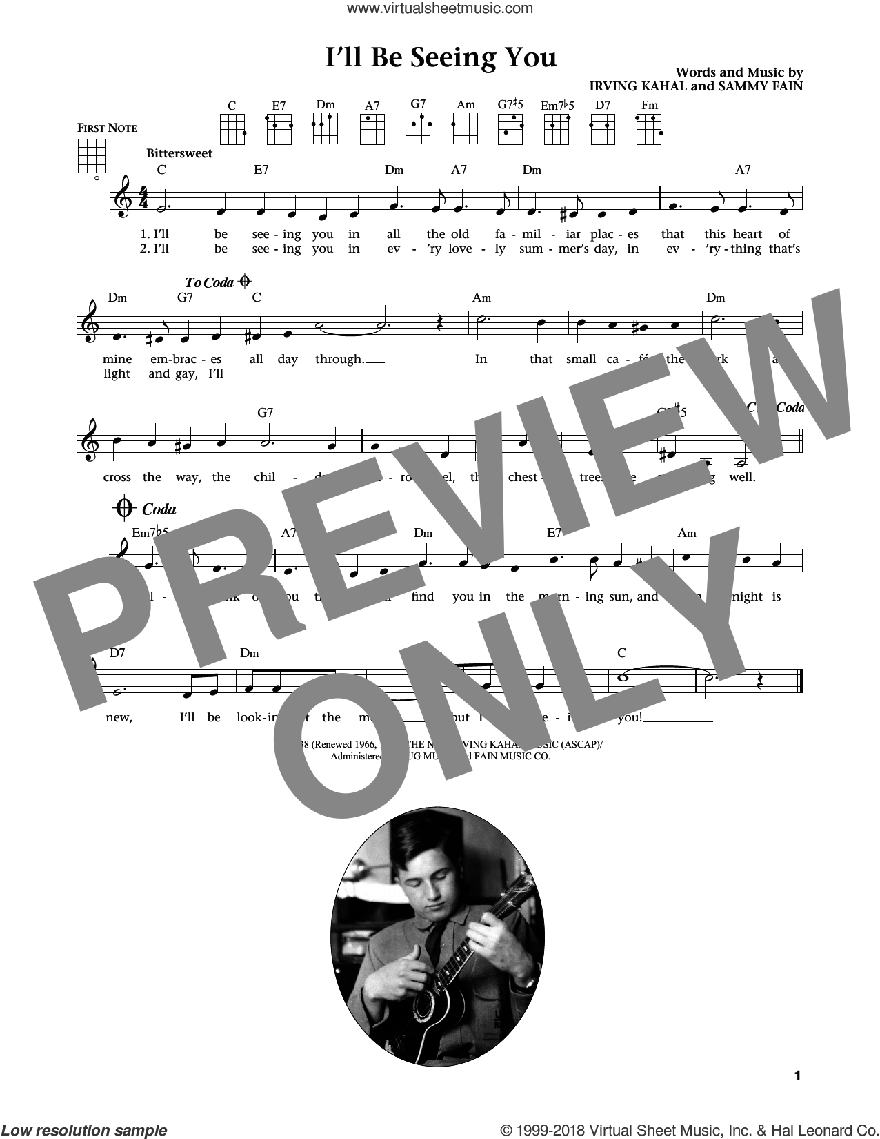 I'll Be Seeing You (from The Daily Ukulele) (arr. Liz and Jim Beloff) sheet music for ukulele by Sammy Fain, Jim Beloff, Liz Beloff and Irving Kahal, intermediate skill level