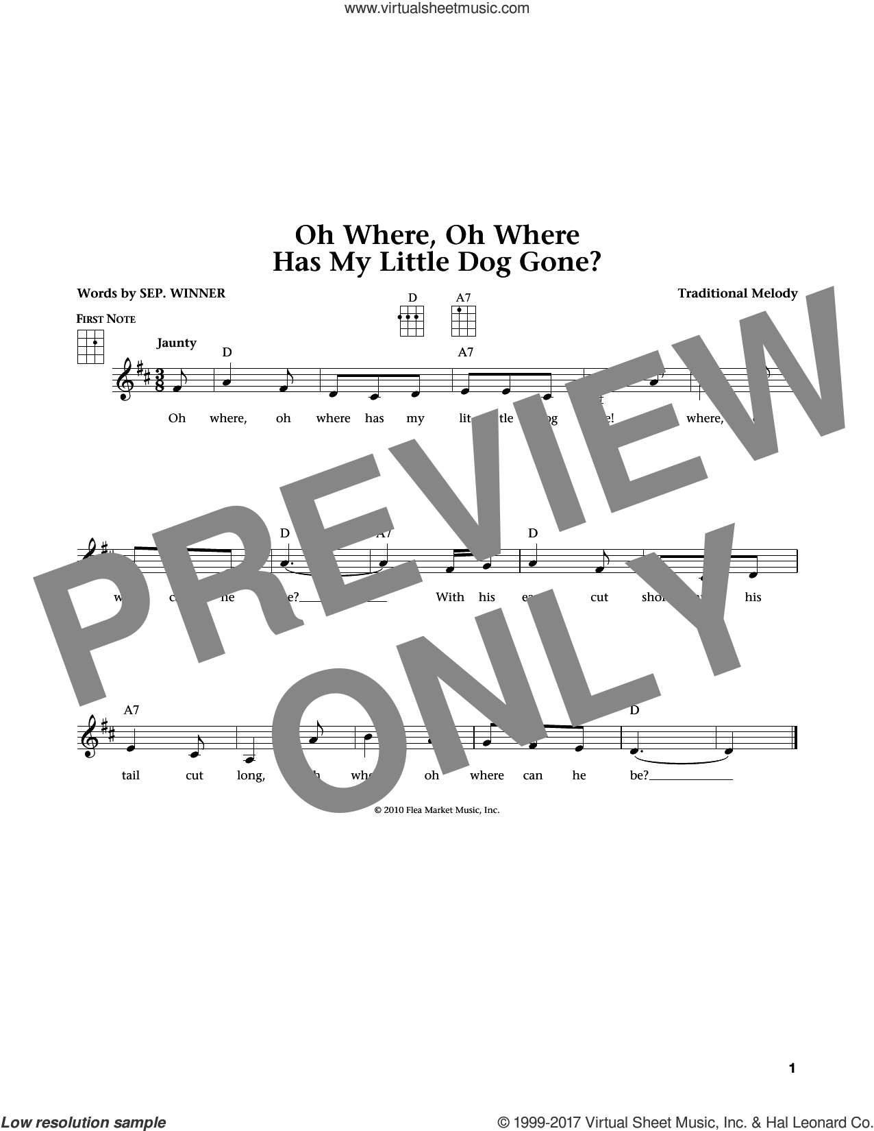 Oh Where, Oh Where Has My Little Dog Gone sheet music for ukulele , Jim Beloff and Liz Beloff, intermediate skill level