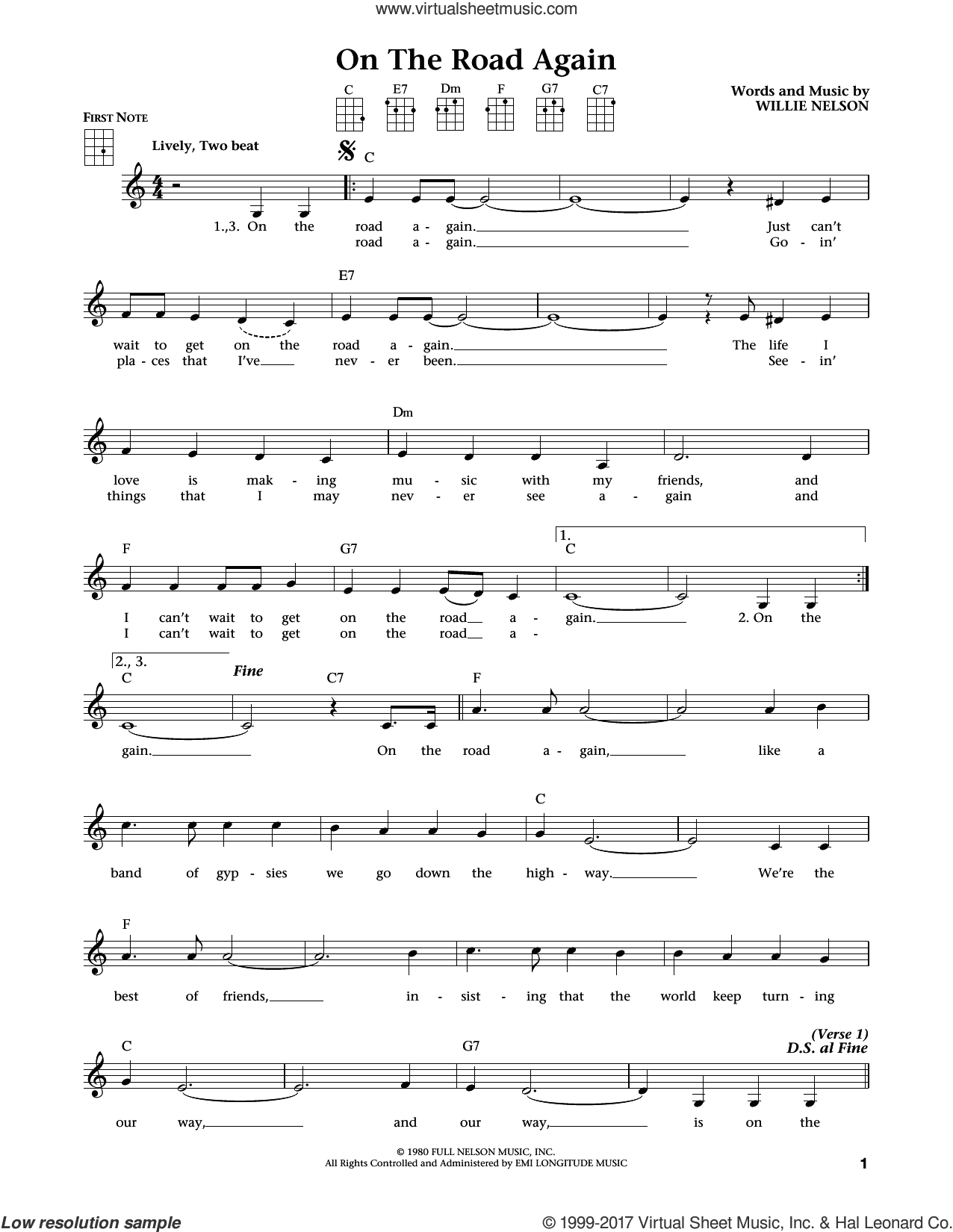 On The Road Again (from The Daily Ukulele) (arr. Liz and Jim Beloff) sheet music for ukulele by Willie Nelson, Jim Beloff and Liz Beloff, intermediate skill level