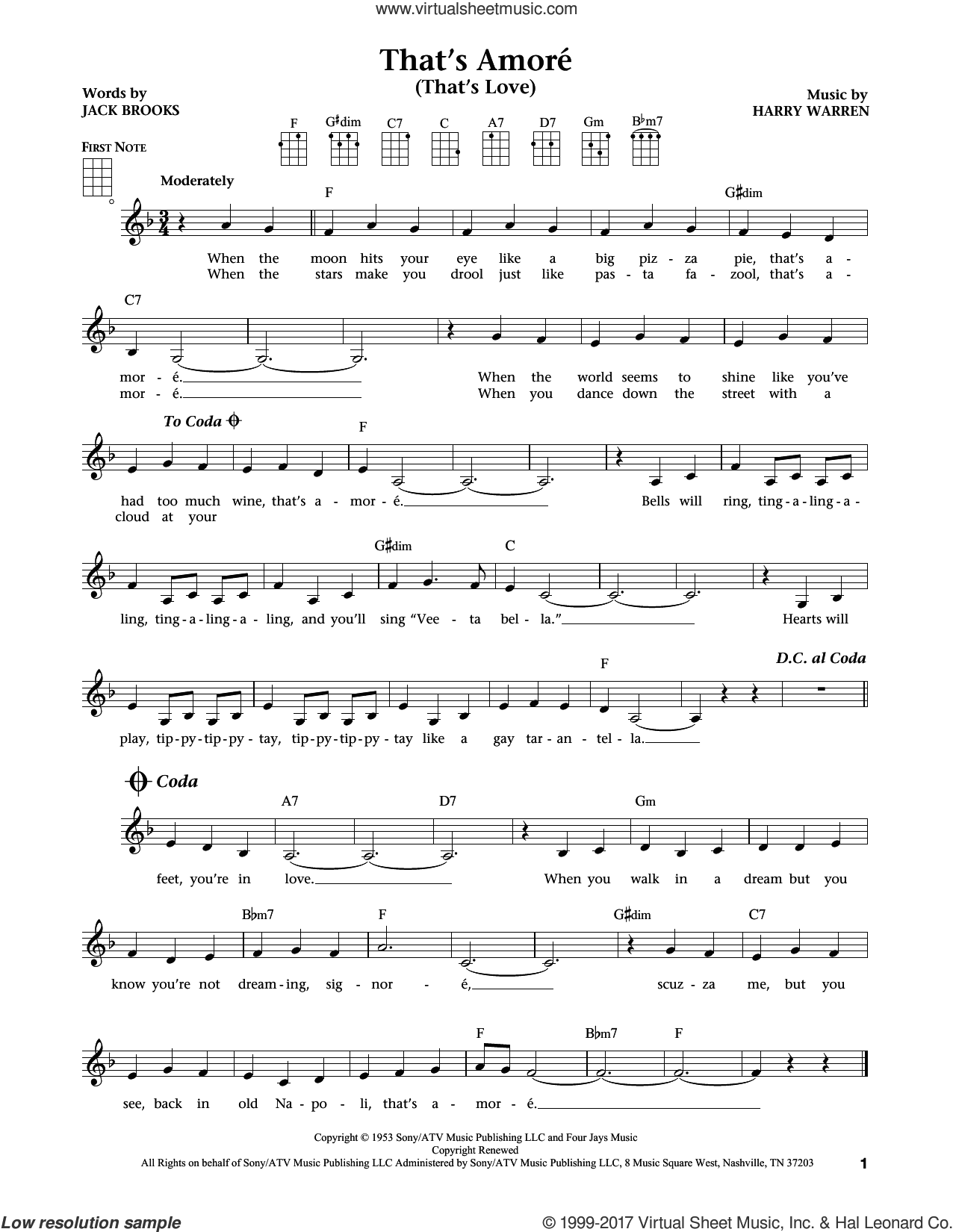 That's Amore (That's Love) sheet music for ukulele by Harry Warren and Jack Brooks, intermediate ukulele. Score Image Preview.