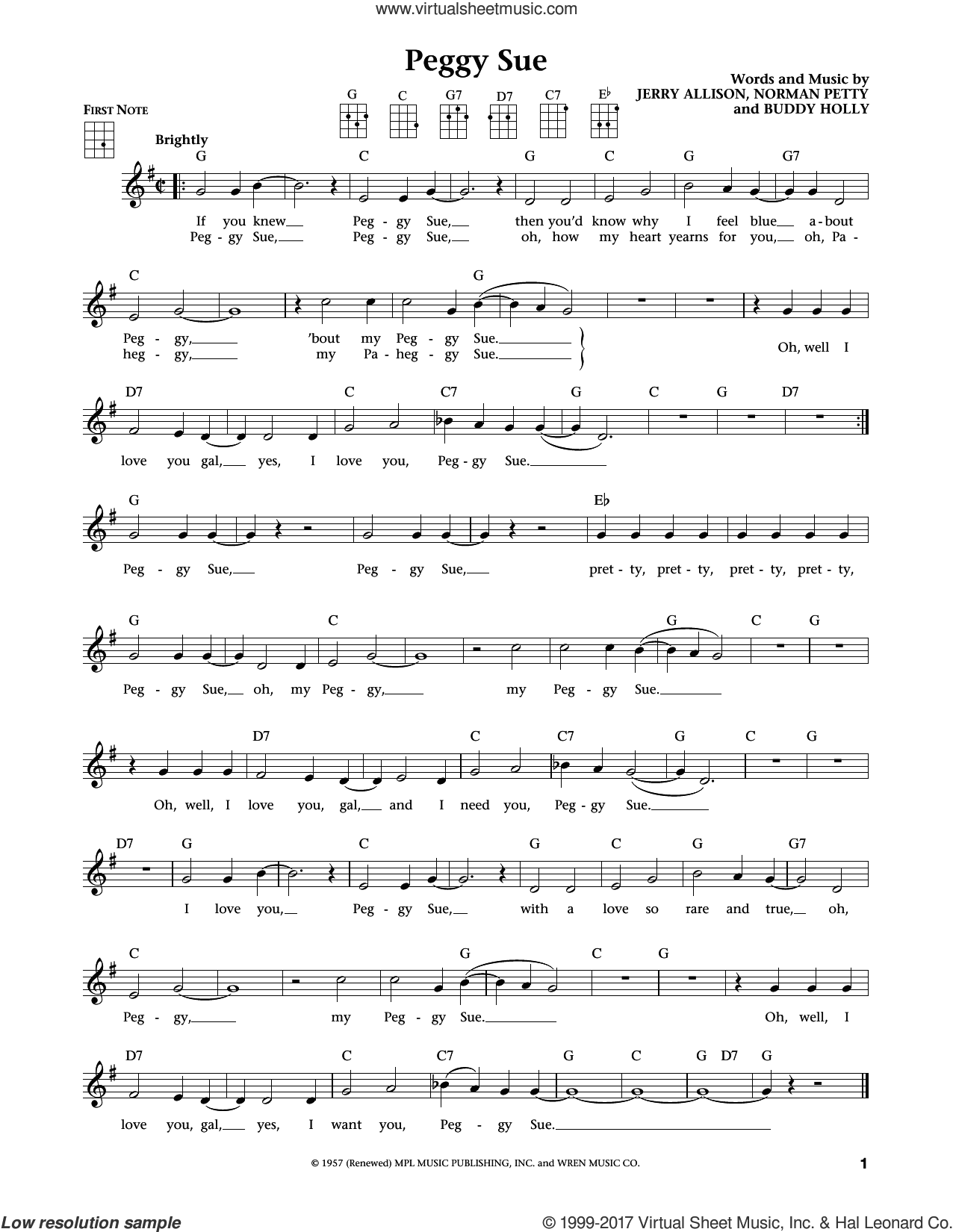 Peggy Sue sheet music for ukulele by Buddy Holly and Jerry Allison, intermediate ukulele. Score Image Preview.