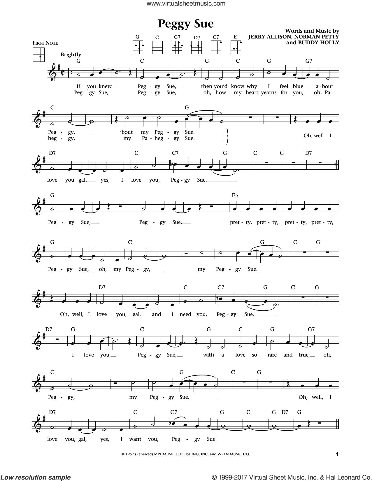 Peggy Sue (from The Daily Ukulele) (arr. Liz and Jim Beloff) sheet music for ukulele by Buddy Holly, Jim Beloff, Liz Beloff, Jerry Allison and Norman Petty, intermediate skill level