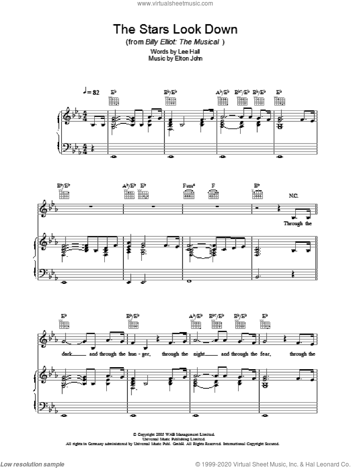 The Stars Look Down sheet music for voice, piano or guitar by Elton John, Billy Elliot (Musical) and Lee Hall, intermediate skill level