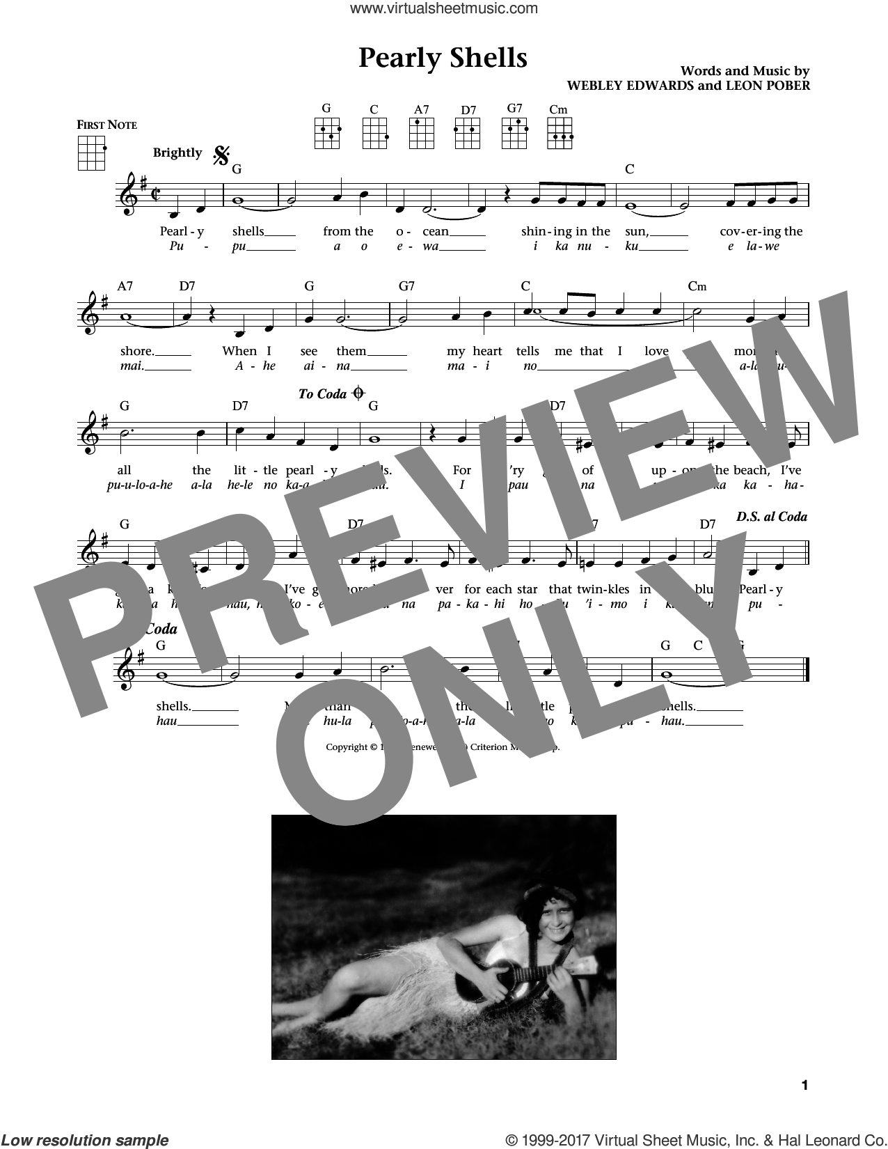 Pearly Shells (Pupu O Ewa) sheet music for ukulele by Leon Pober and Webley Edwards. Score Image Preview.