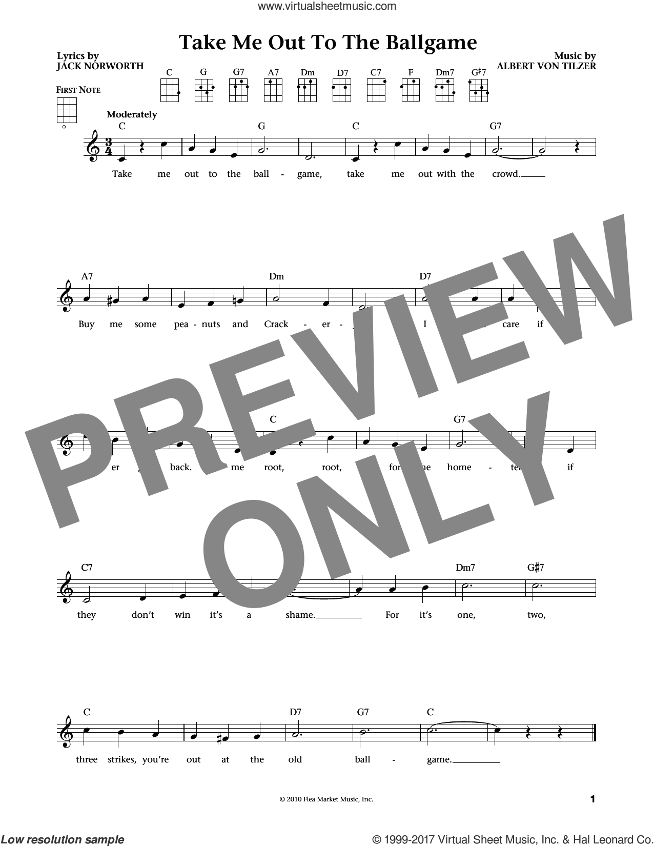 Take Me Out To The Ball Game (from The Daily Ukulele) (arr. Liz and Jim Beloff) sheet music for ukulele by Albert von Tilzer, Jim Beloff, Liz Beloff and Jack Norworth, intermediate skill level