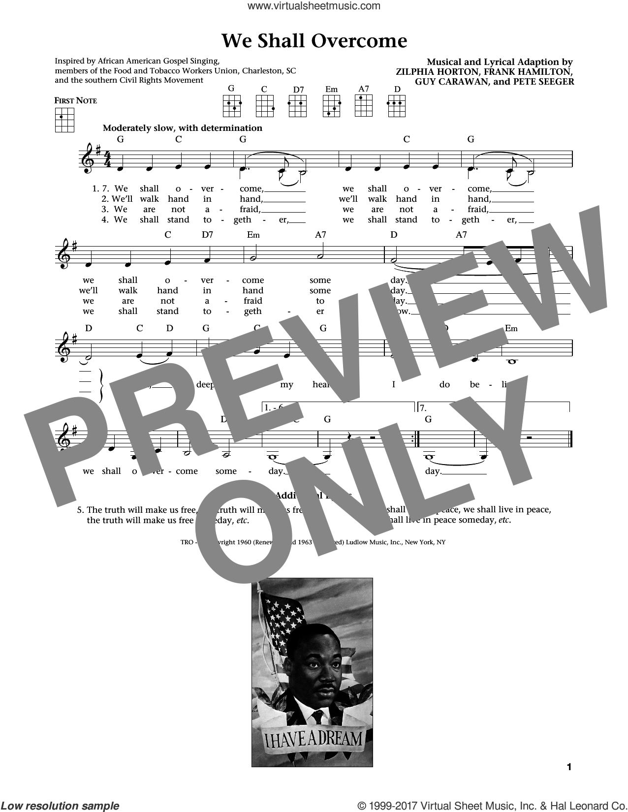 We Shall Overcome sheet music for ukulele by Pete Seeger, Jim Beloff, Joan Baez, Liz Beloff, Peter, Paul & Mary, Frank Hamilton, Guy Carawan and Zilphia Horton, intermediate skill level