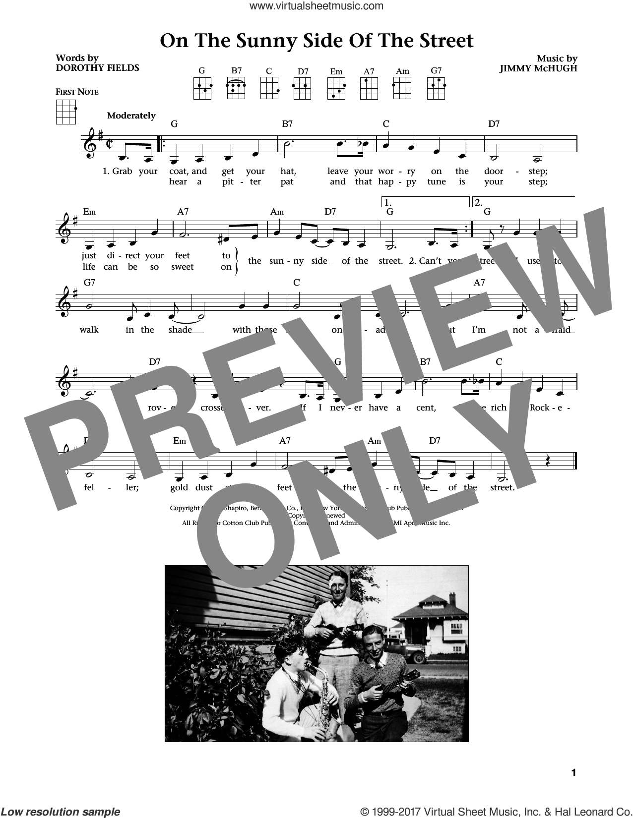 On The Sunny Side Of The Street (from The Daily Ukulele) (arr. Liz and Jim Beloff) sheet music for ukulele by Dorothy Fields, Jim Beloff, Liz Beloff and Jimmy McHugh, intermediate skill level