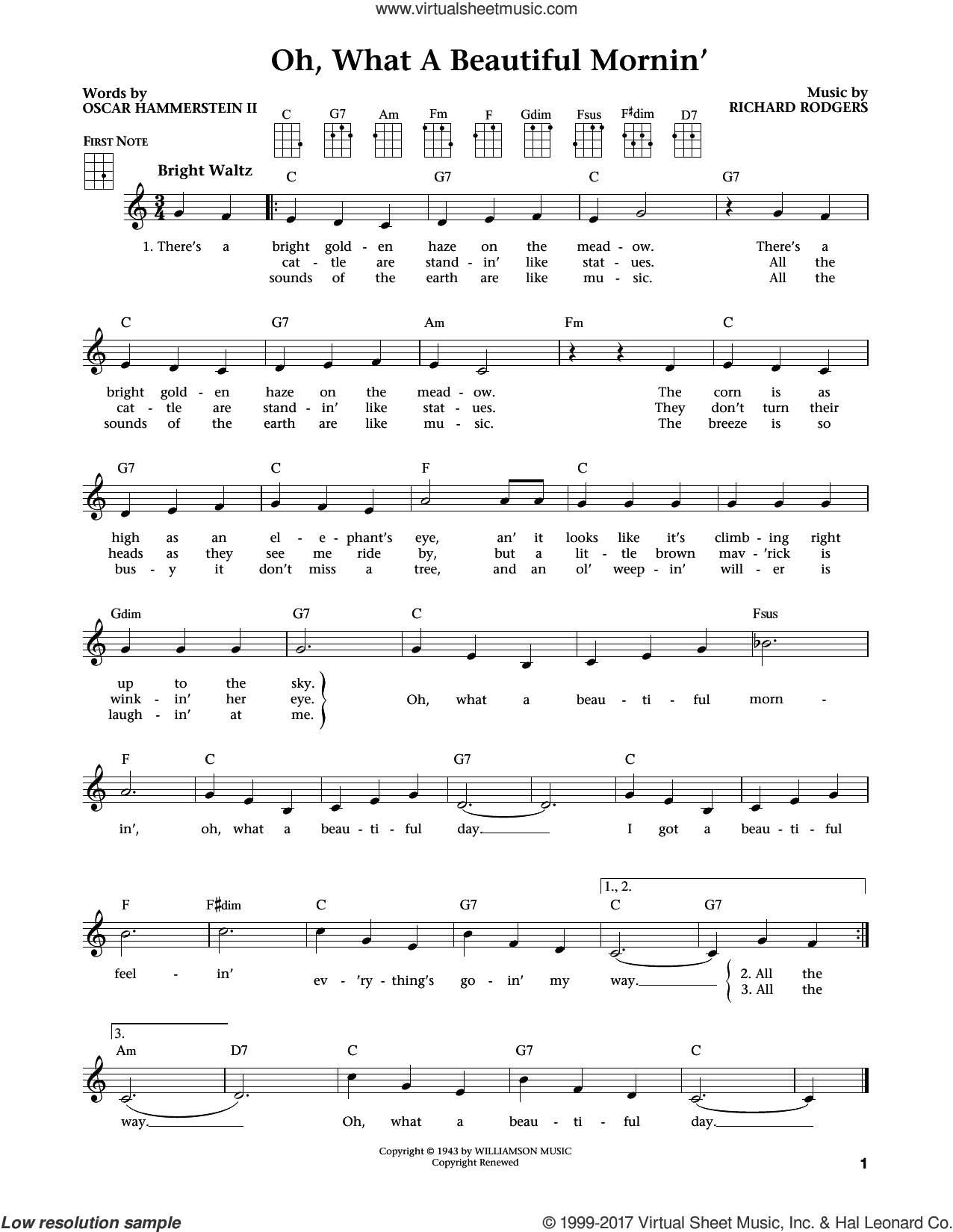Oh, What A Beautiful Mornin' sheet music for ukulele by Rodgers & Hammerstein, Jim Beloff, Oscar II Hammerstein and Richard Rodgers. Score Image Preview.