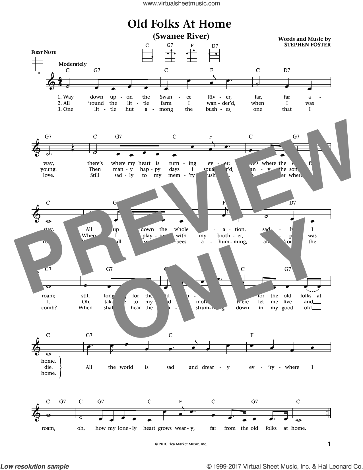 Old Folks At Home (Swanee River) sheet music for ukulele by Stephen Foster, intermediate ukulele. Score Image Preview.