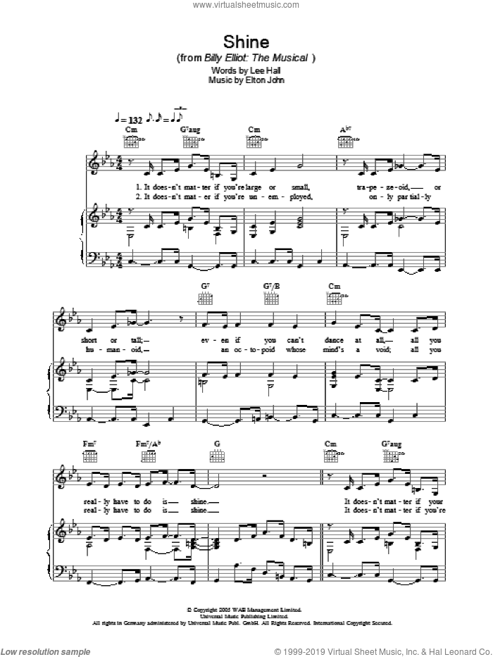 Shine sheet music for voice, piano or guitar by Lee Hall and Elton John. Score Image Preview.