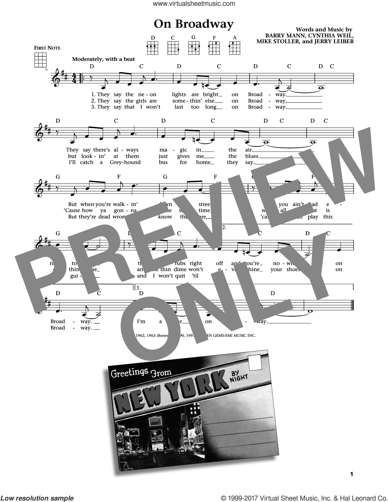 On Broadway sheet music for ukulele by The Drifters, George Benson, Barry Mann, Cynthia Weil and Mike Stoller, intermediate ukulele. Score Image Preview.